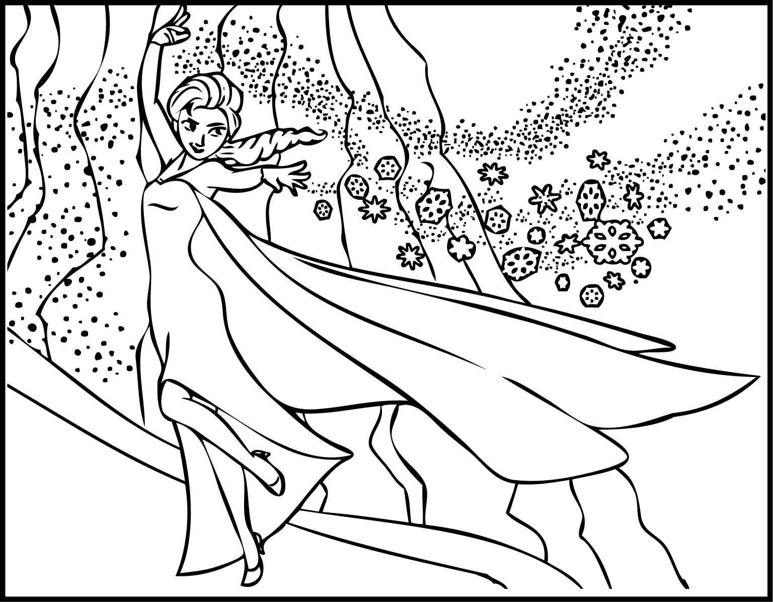 Elsa the Snow Showing Magic Coloring Page
