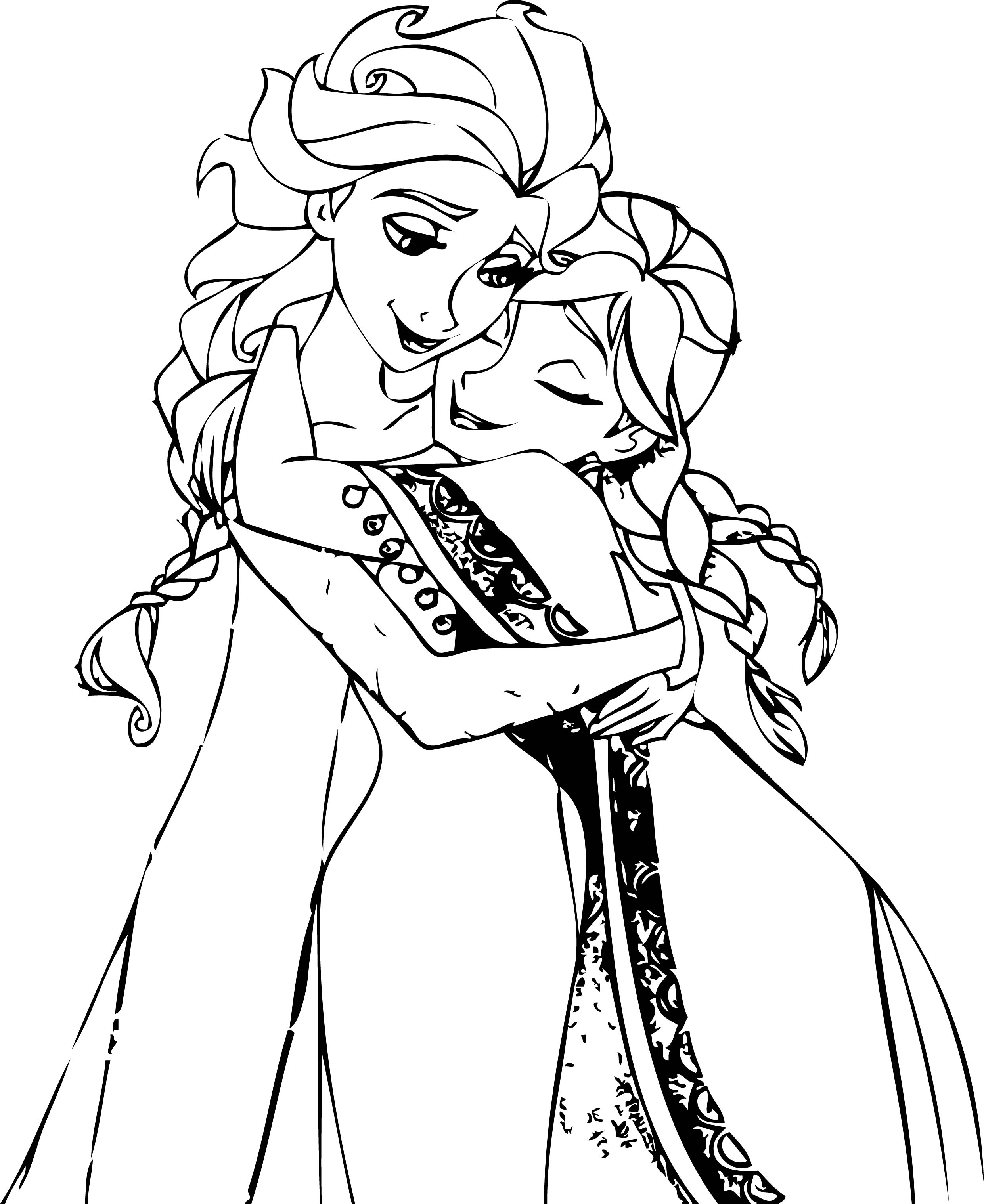 elsa and anna hug coloring page - Elsa And Anna Coloring Pages