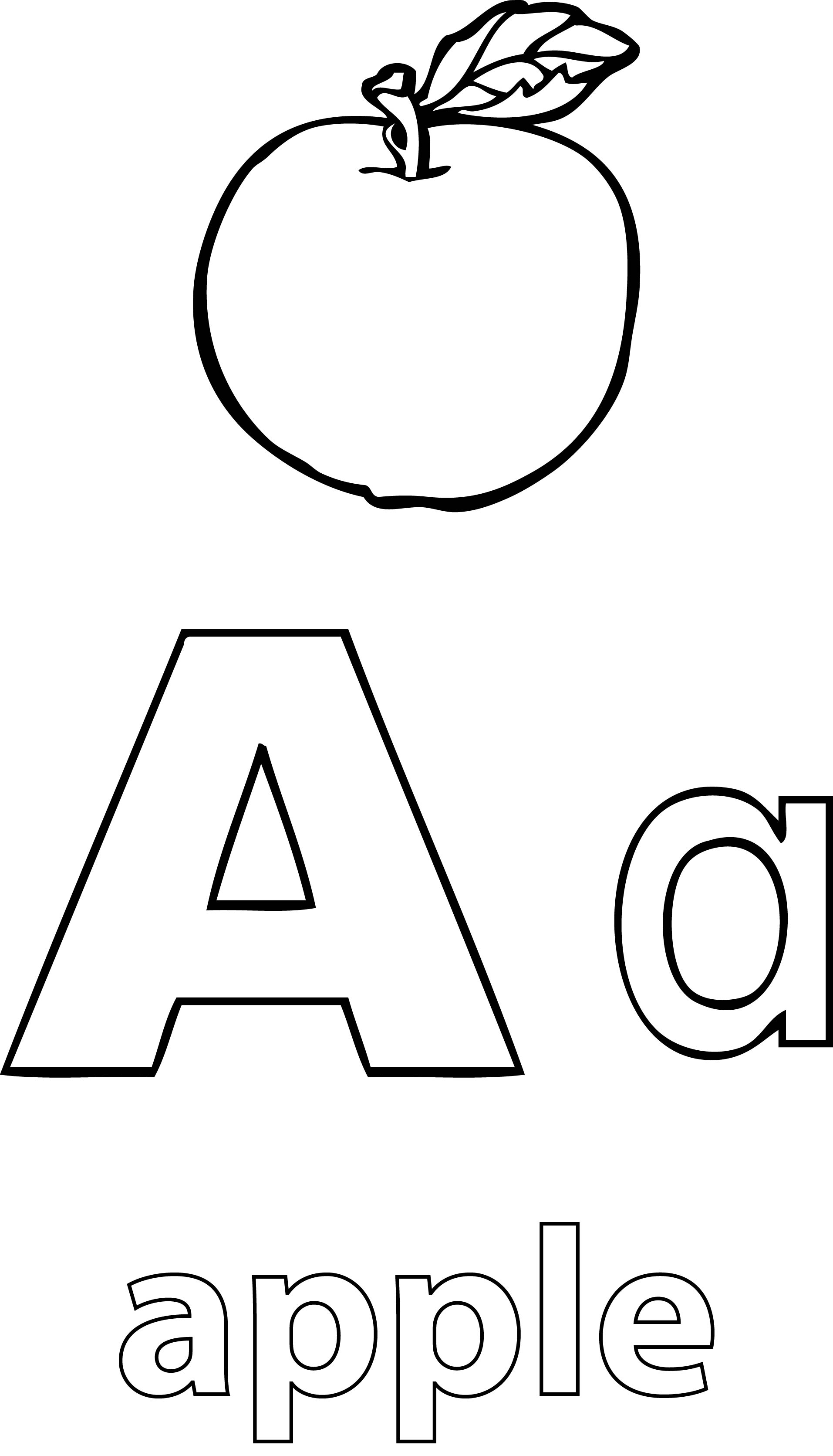 A alphabet apple coloring page for Apple coloring pages