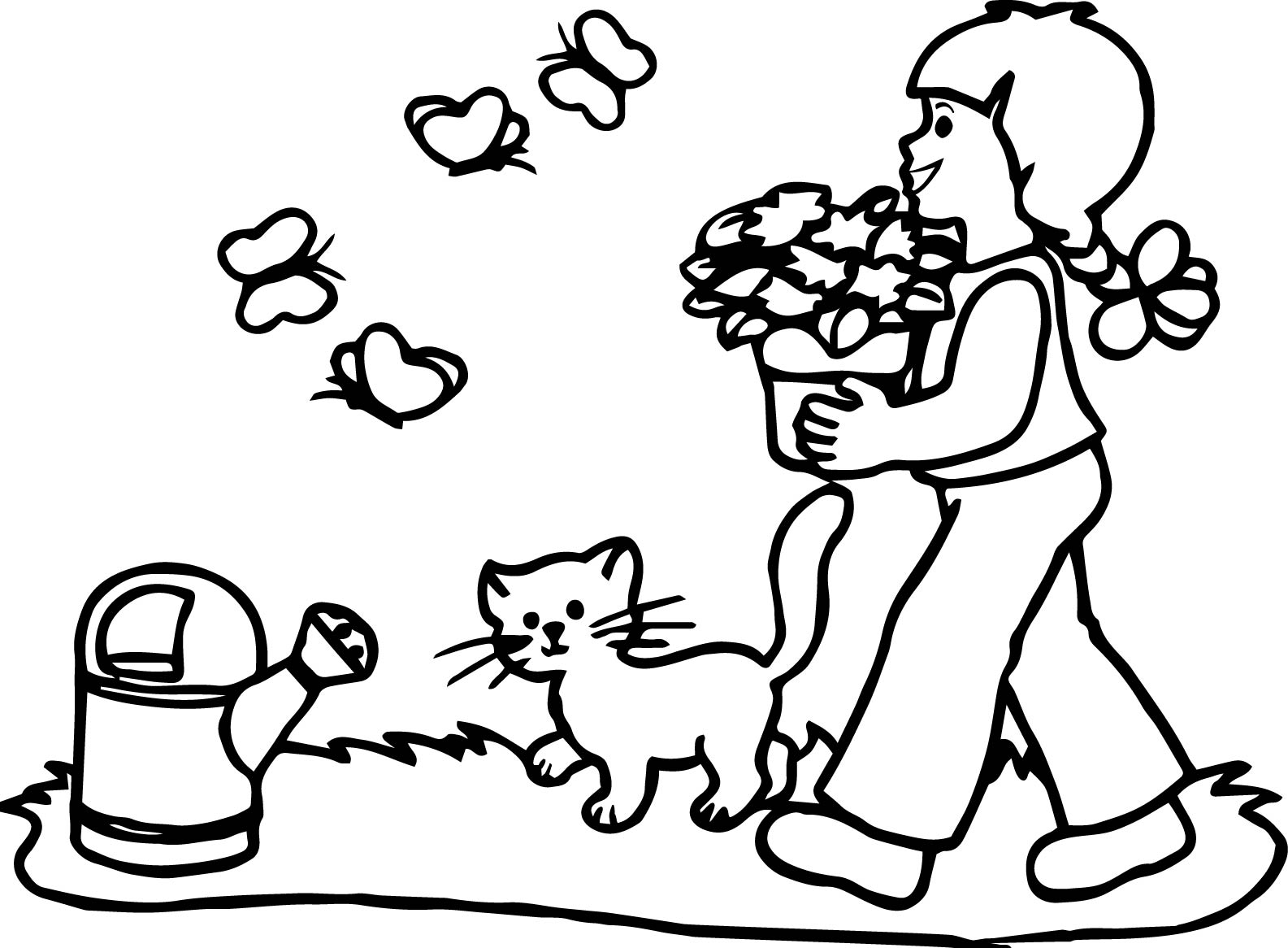 Girl And Cat Coloring Pages