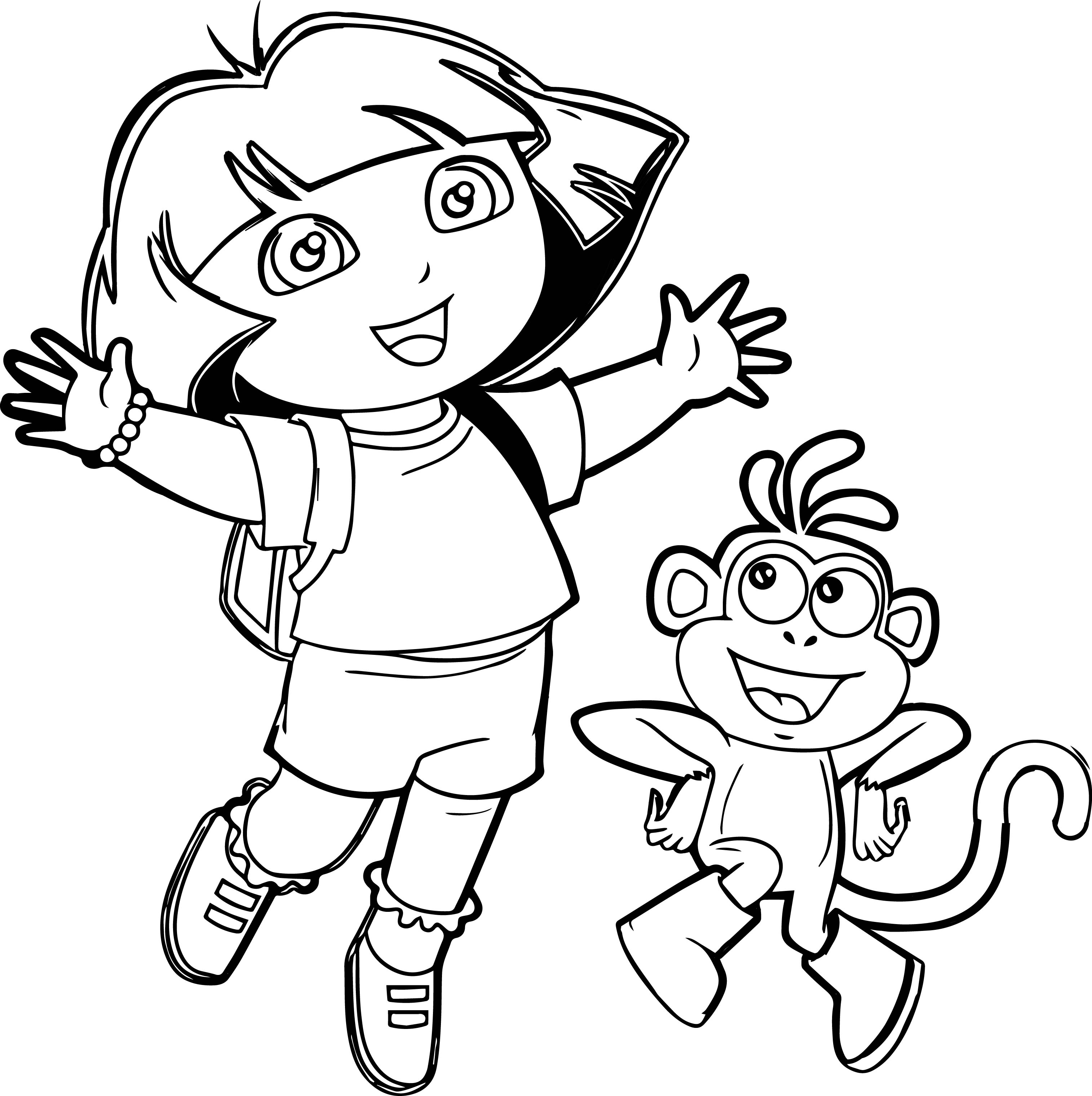 Dora-And-Monkey-Very-Happy-Coloring-Page