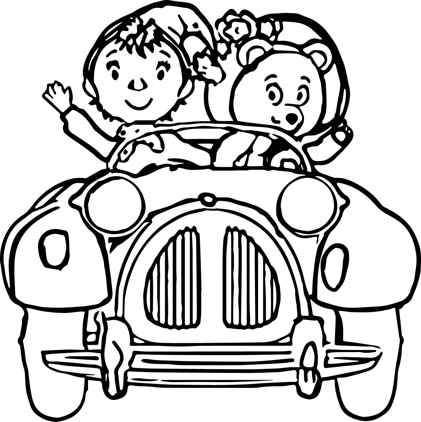 Noddy and cute bear in the car coloring page for Cars cartoon coloring pages
