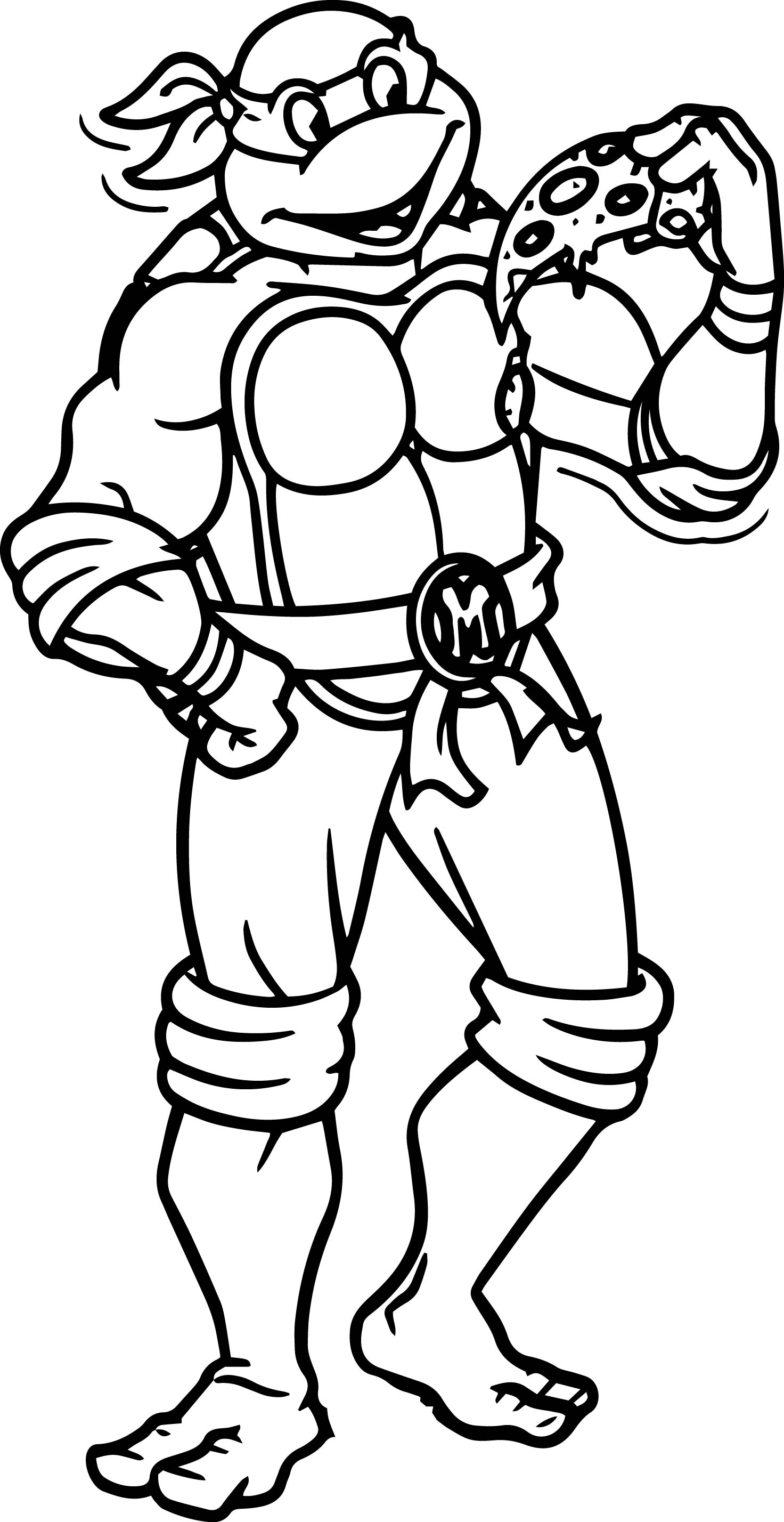 Turtle Best Eat Pizza Coloring Page Teenage Mutant