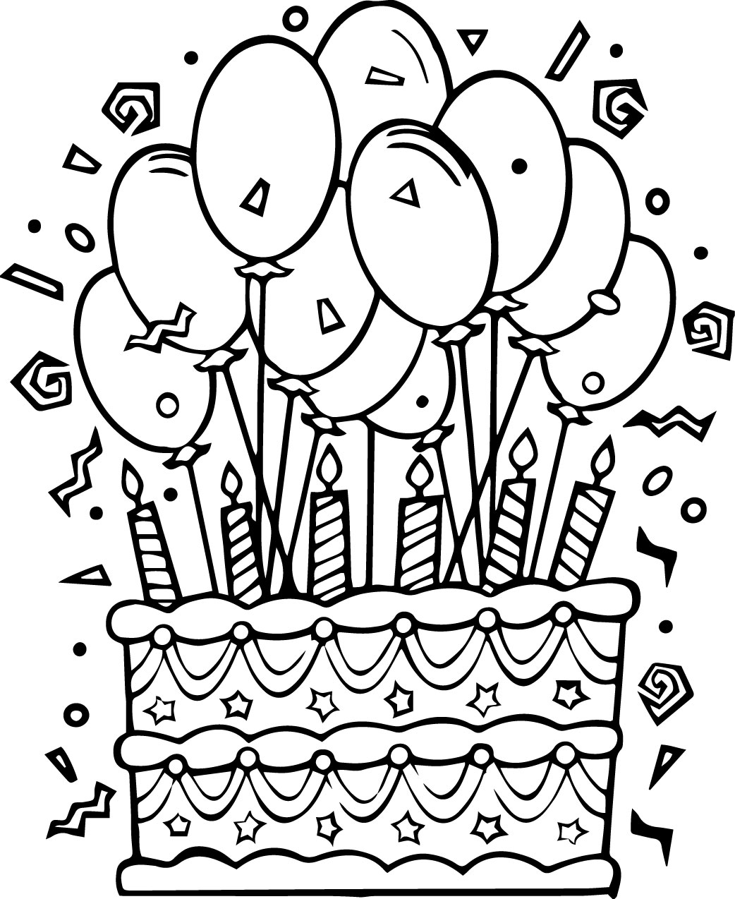 Adult Beauty Coloring Page Cake Images top balloons and pointed hat with birthday cake coloring pages gallery images