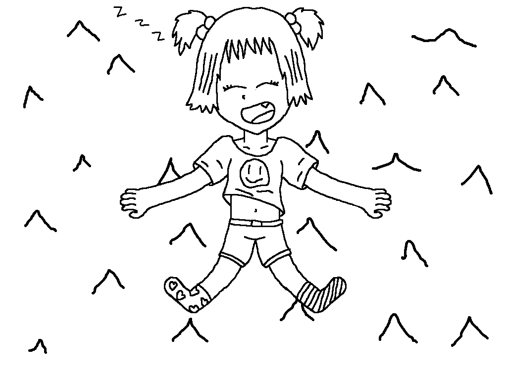 Napping little girl coloring page