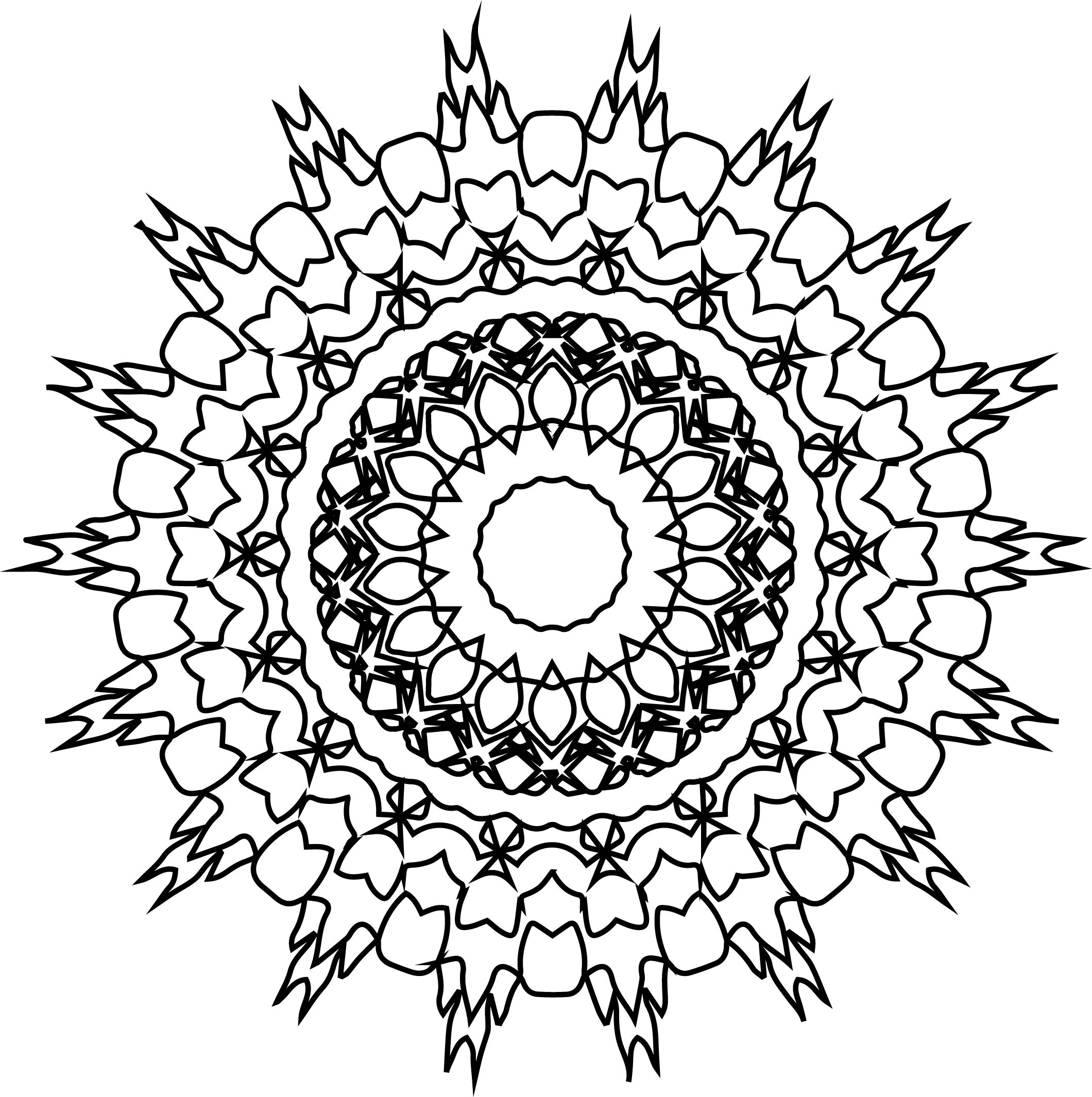 Adult Mandala Shape Orniment Style Coloring Page