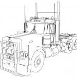 Peterbilt 379 4 Axle TIR Long Trailer Truck Coloring Page
