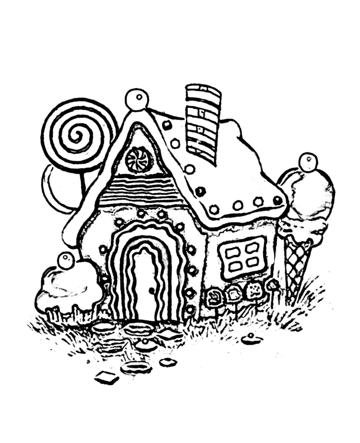 Gingerbread House Coloring Pages | Wecoloringpage