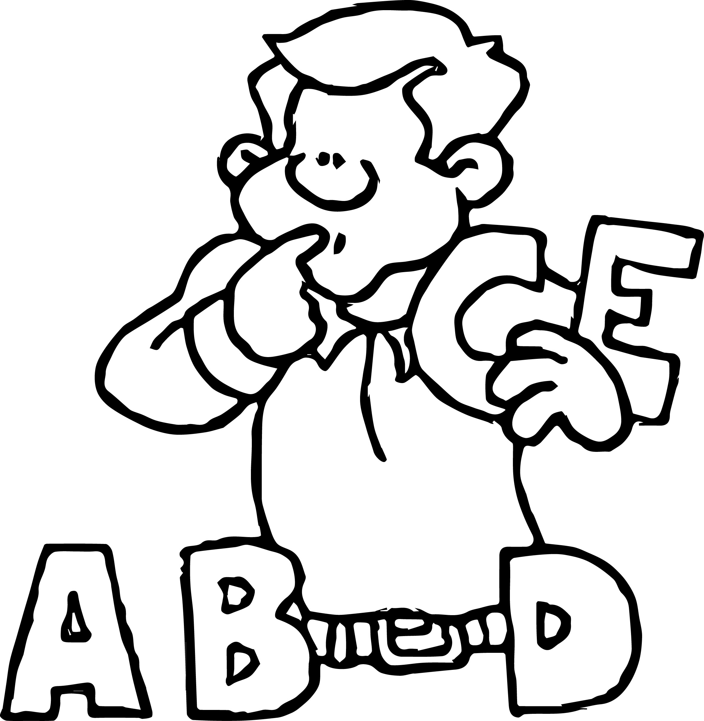 A B D E Letter Man Cartoon Coloring Page