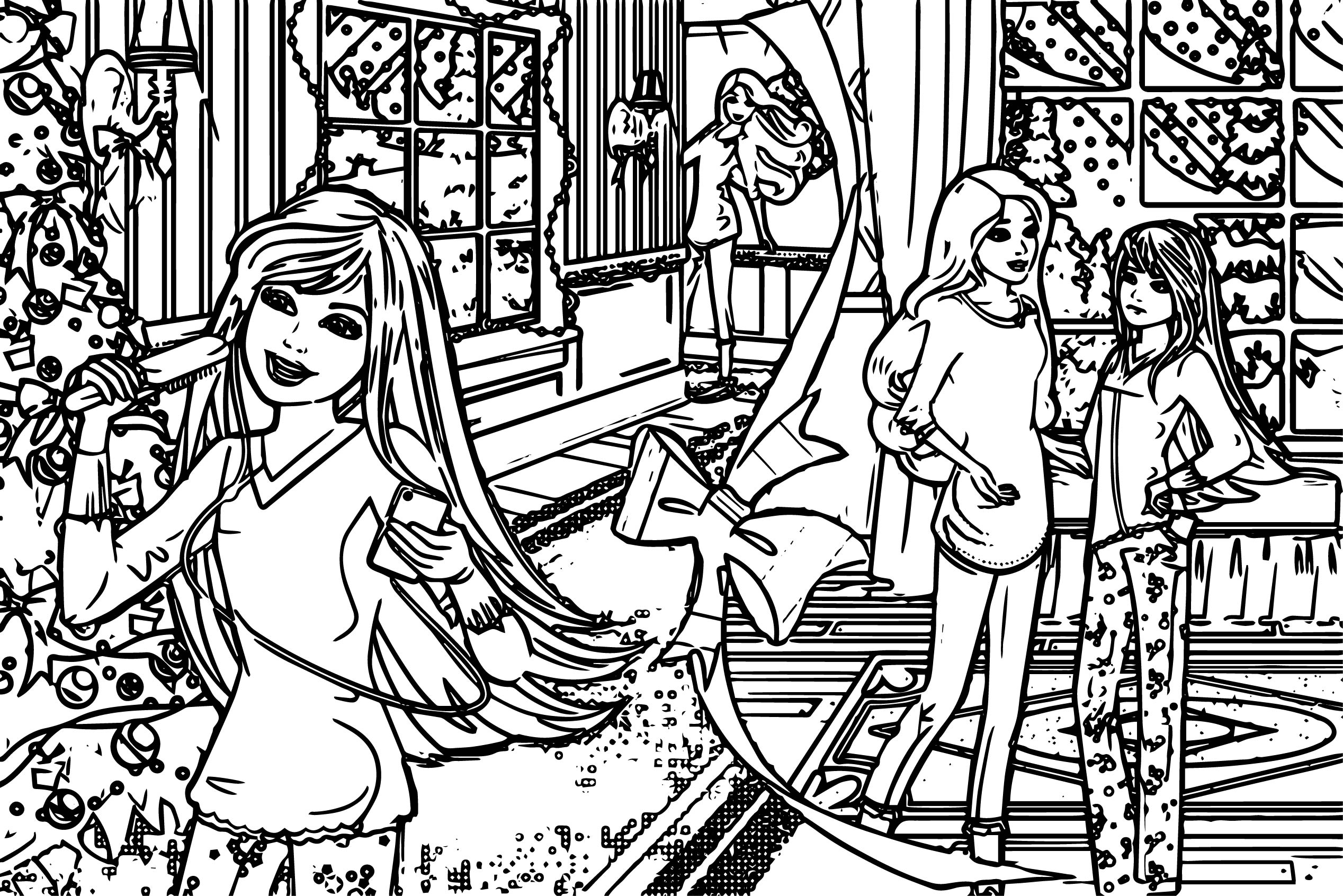 barbie chrismas coloring pages wecoloringpage