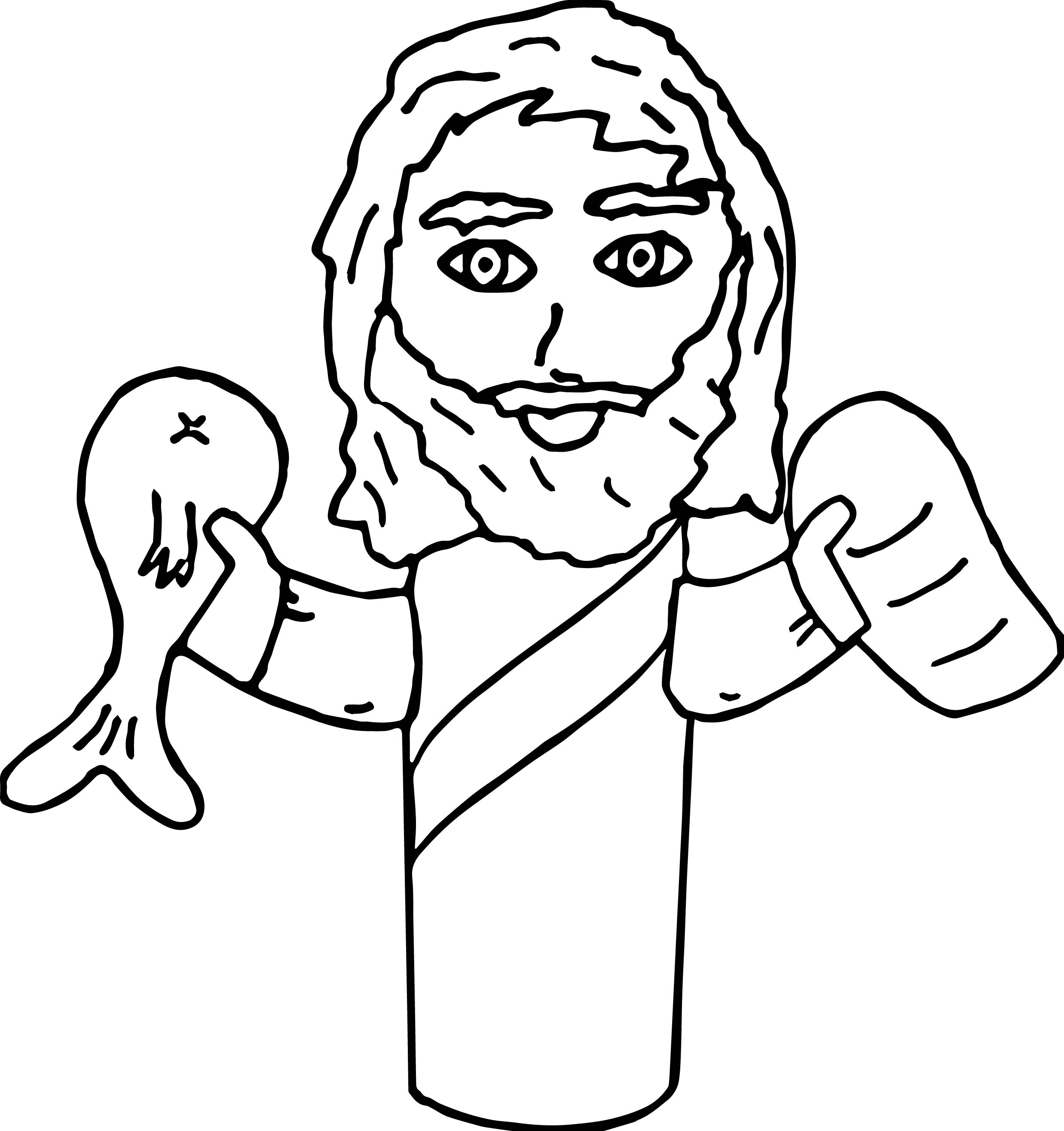 Jesus Fish and Loaves Roll Craft Coloring Page