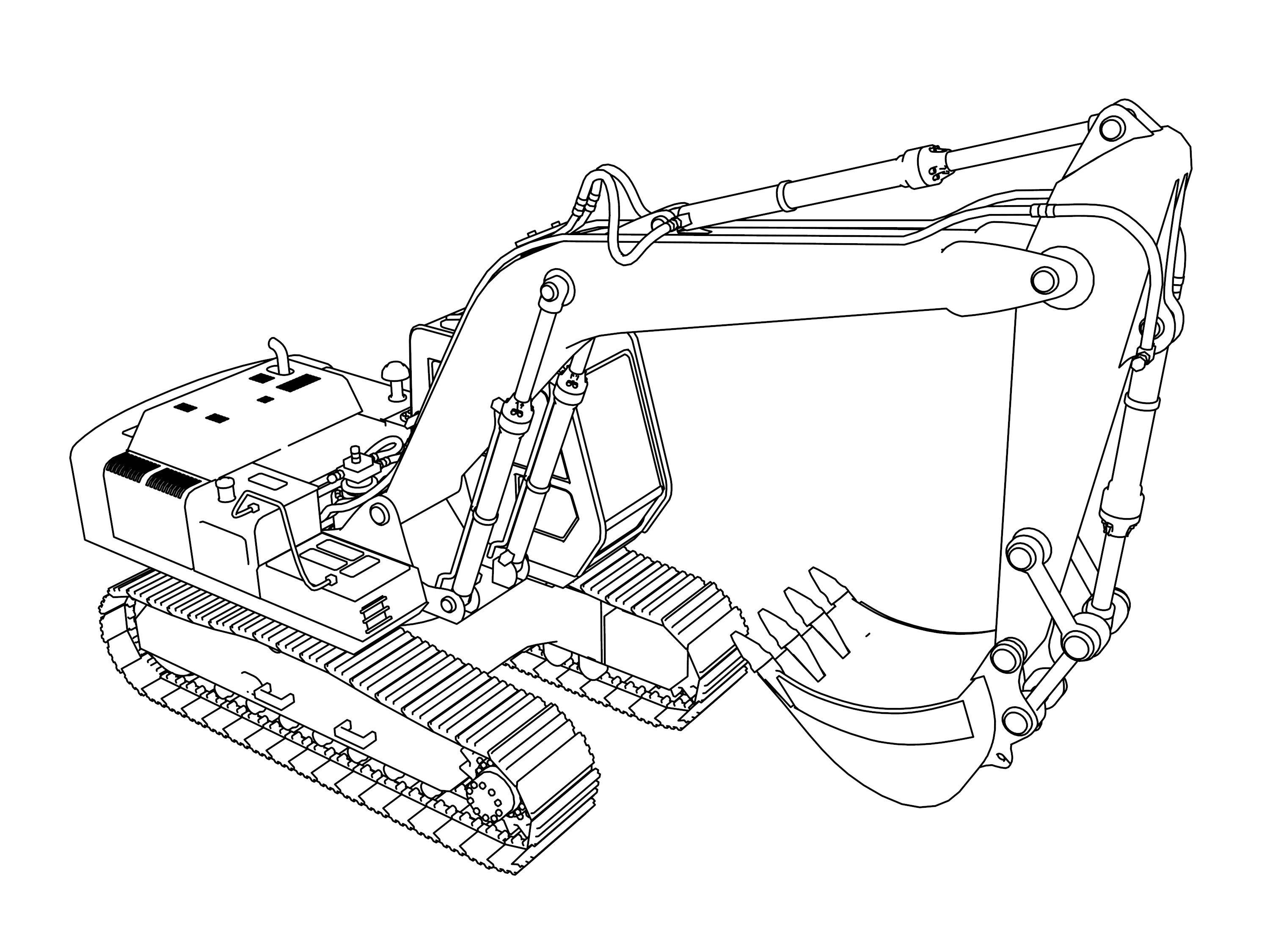 Coloring pages 4 wheeler - Excavator Coloring Pages