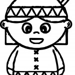 Child American Indian Coloring Page