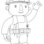 Outline Bob The Builder To Wave One's Hand Coloring Page