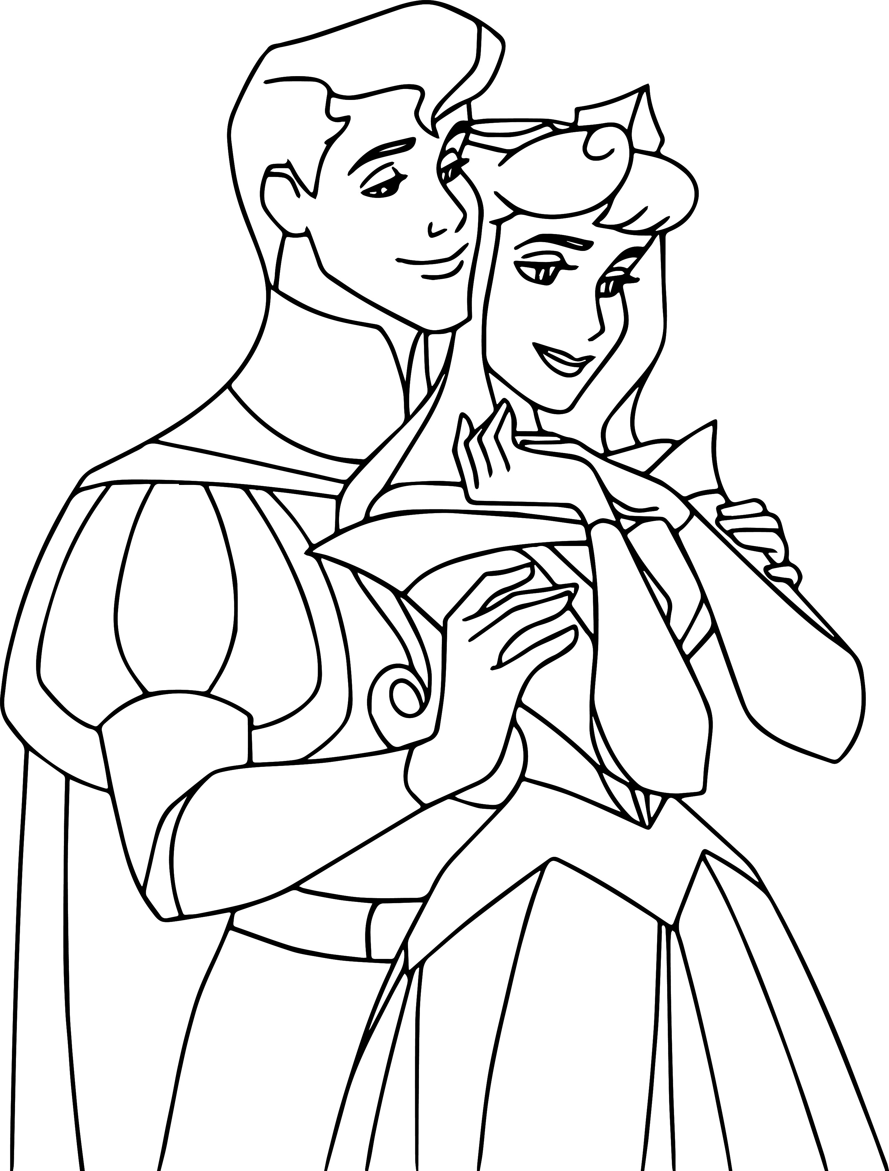 Disney Story Aurora and Phillip Coloring Pages