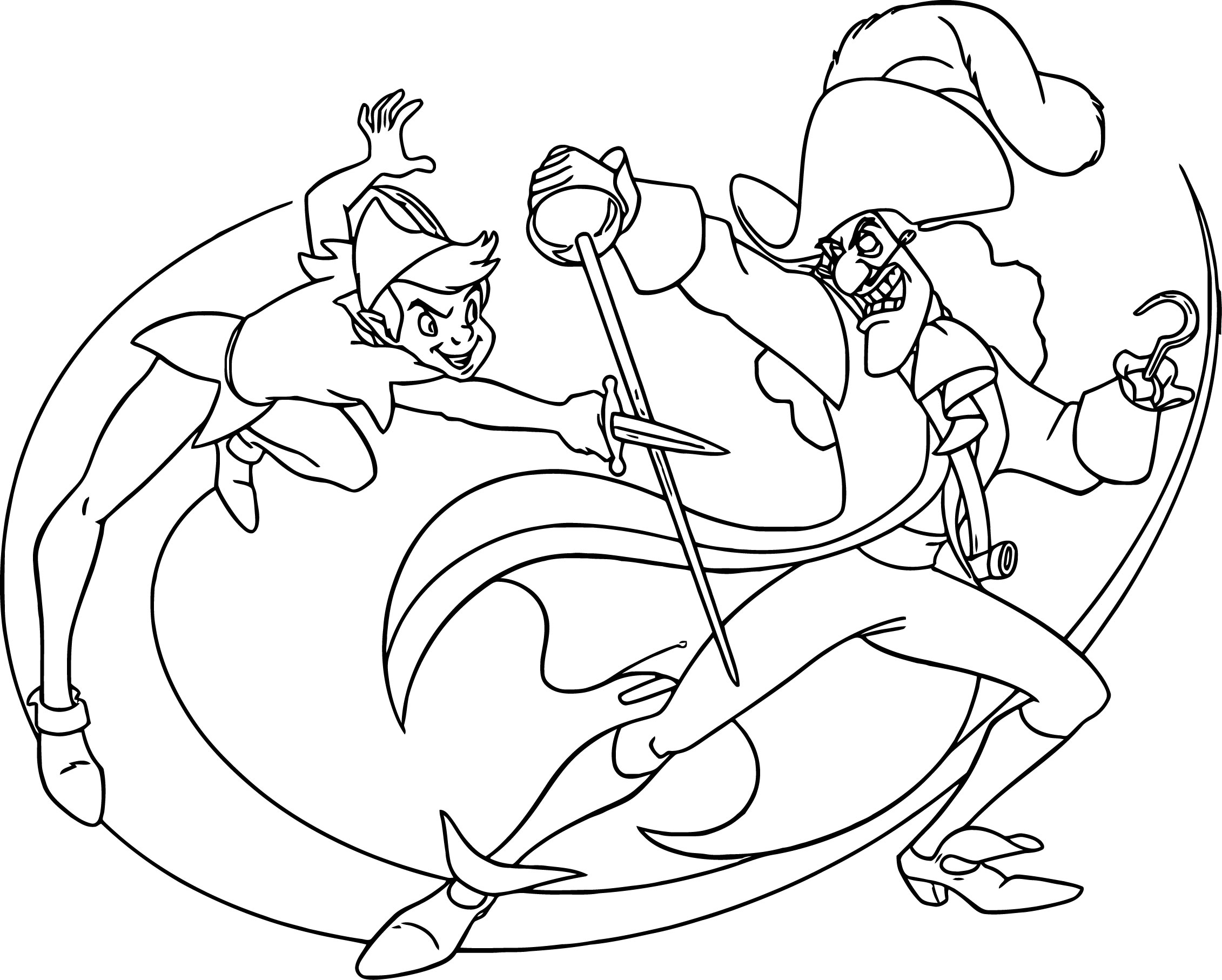 peter pan and captain hook coloring pages wecoloringpage