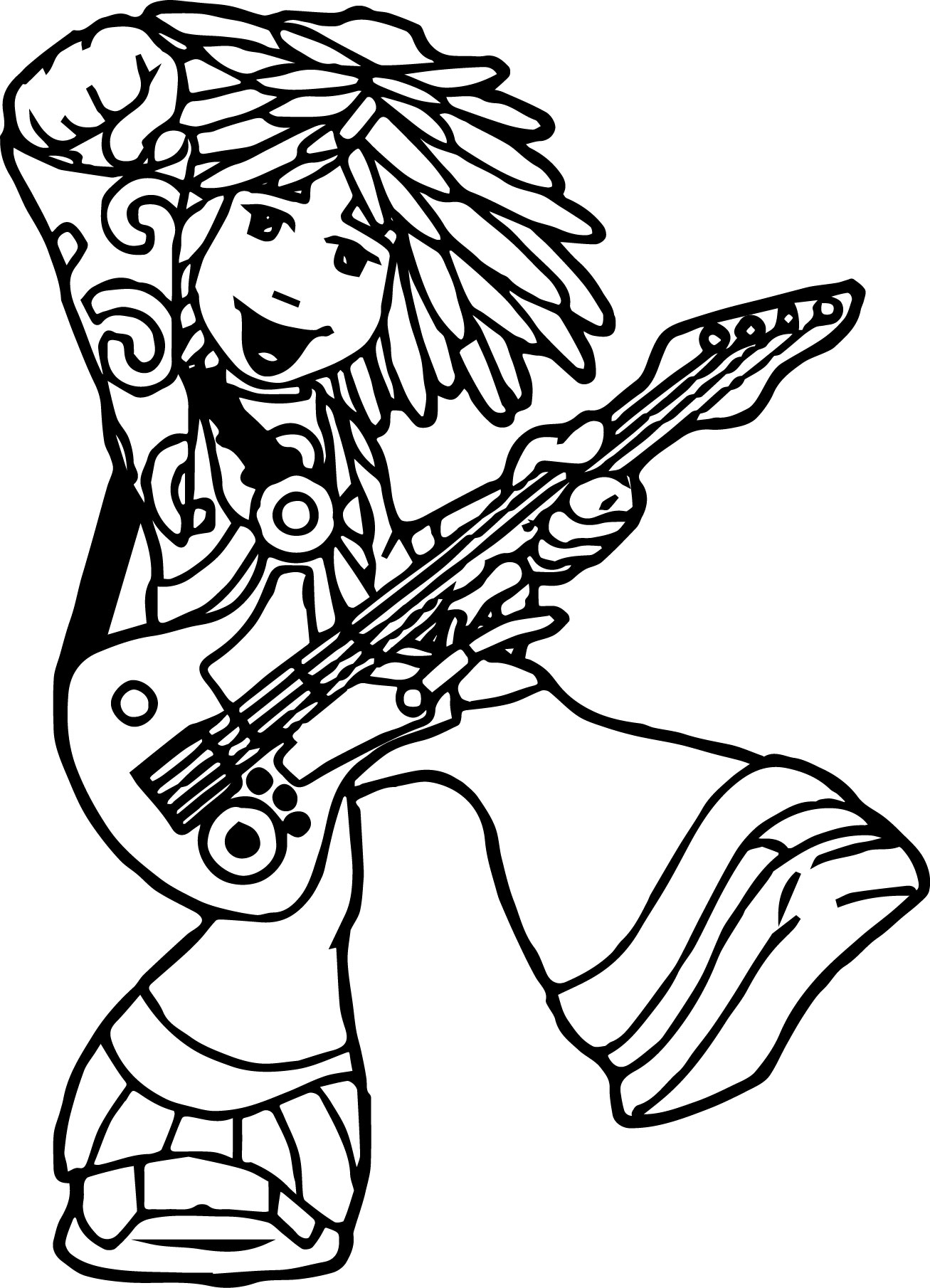 The Doodlebops Moe Doodle Playing Guitar Show Coloring Pages