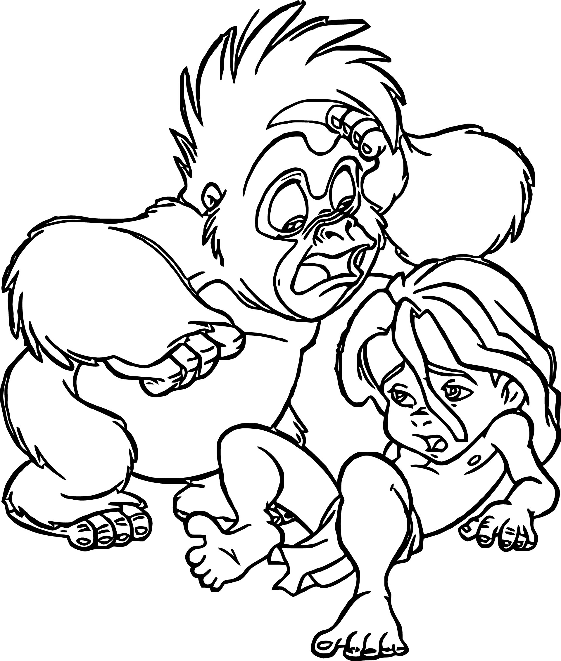 Young Tarzan And Monkey Sad Coloring Page
