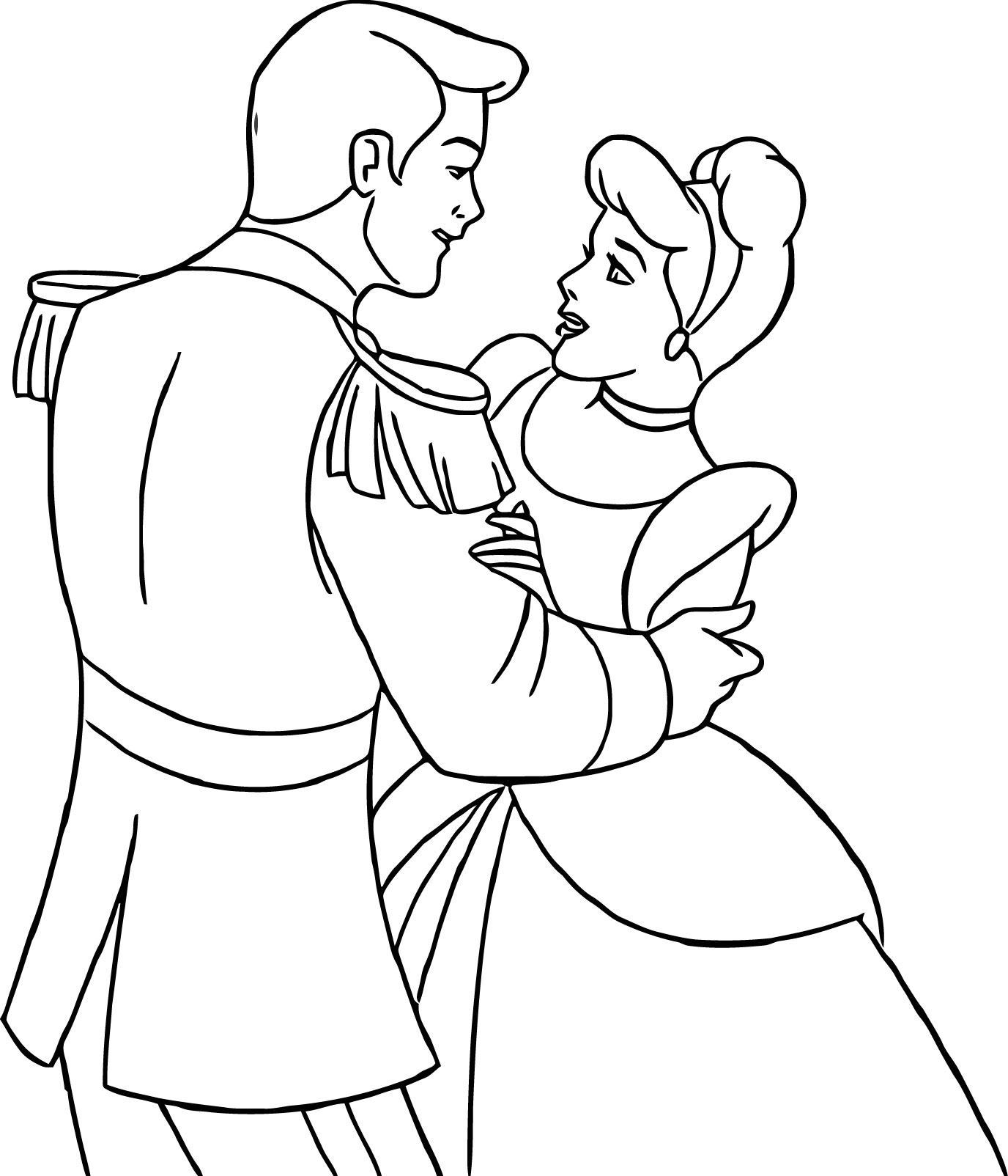 cinderella color page - cinderella and prince charming coloring pages