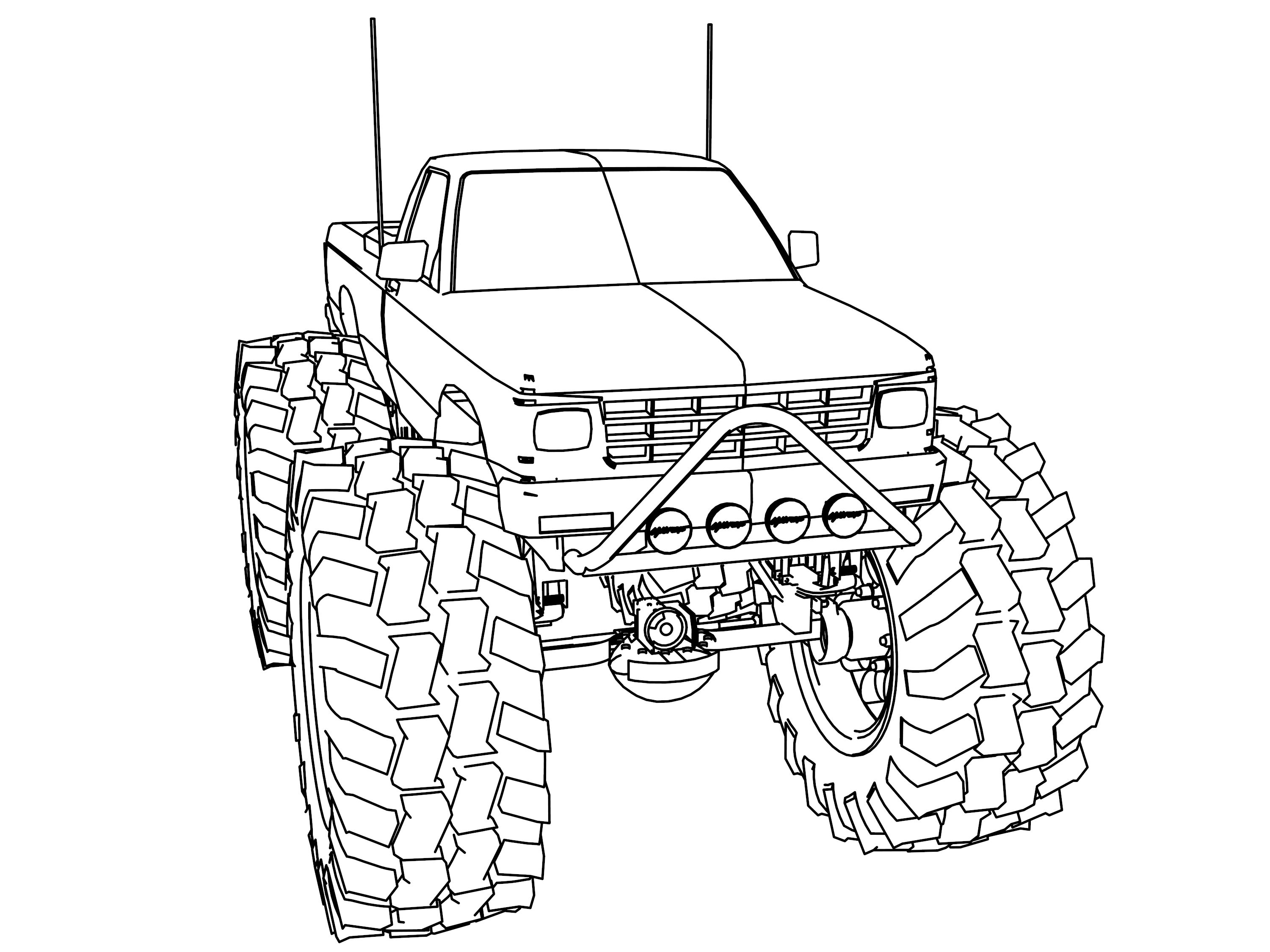 Coloring pictures of cars truck tractors - Monster Truck Coloring Pages