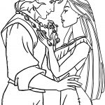pocahontas and john smith couple love coloring page