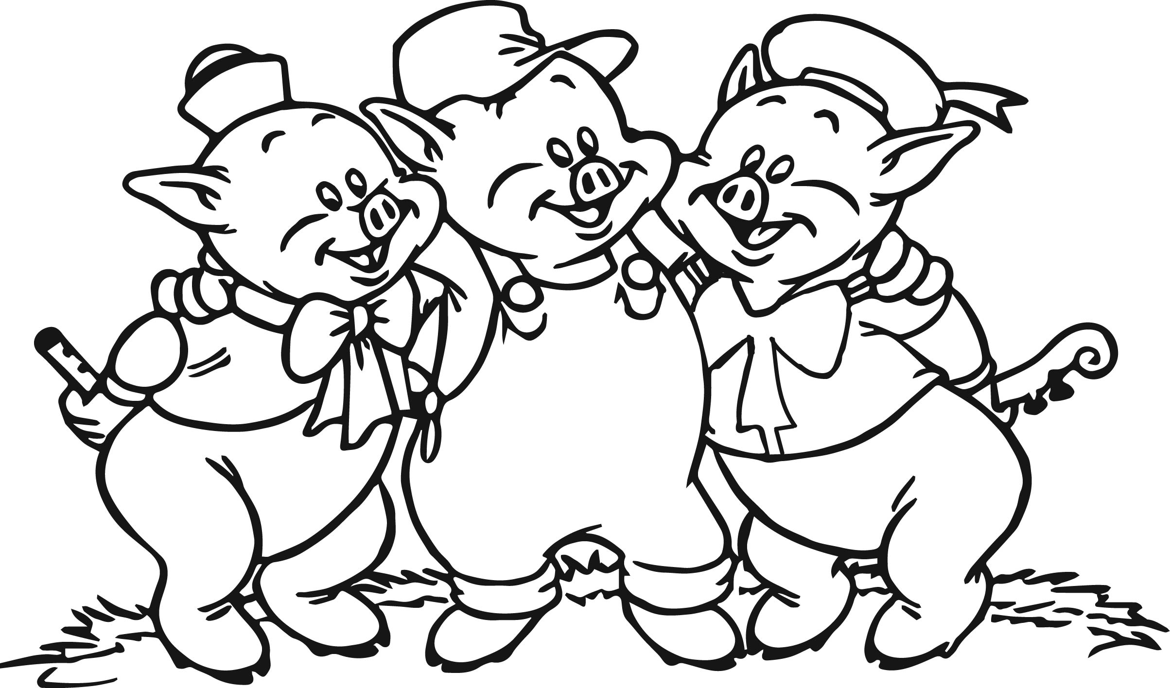coloring pages of pigs and piglets - 3 little pigs coloring page