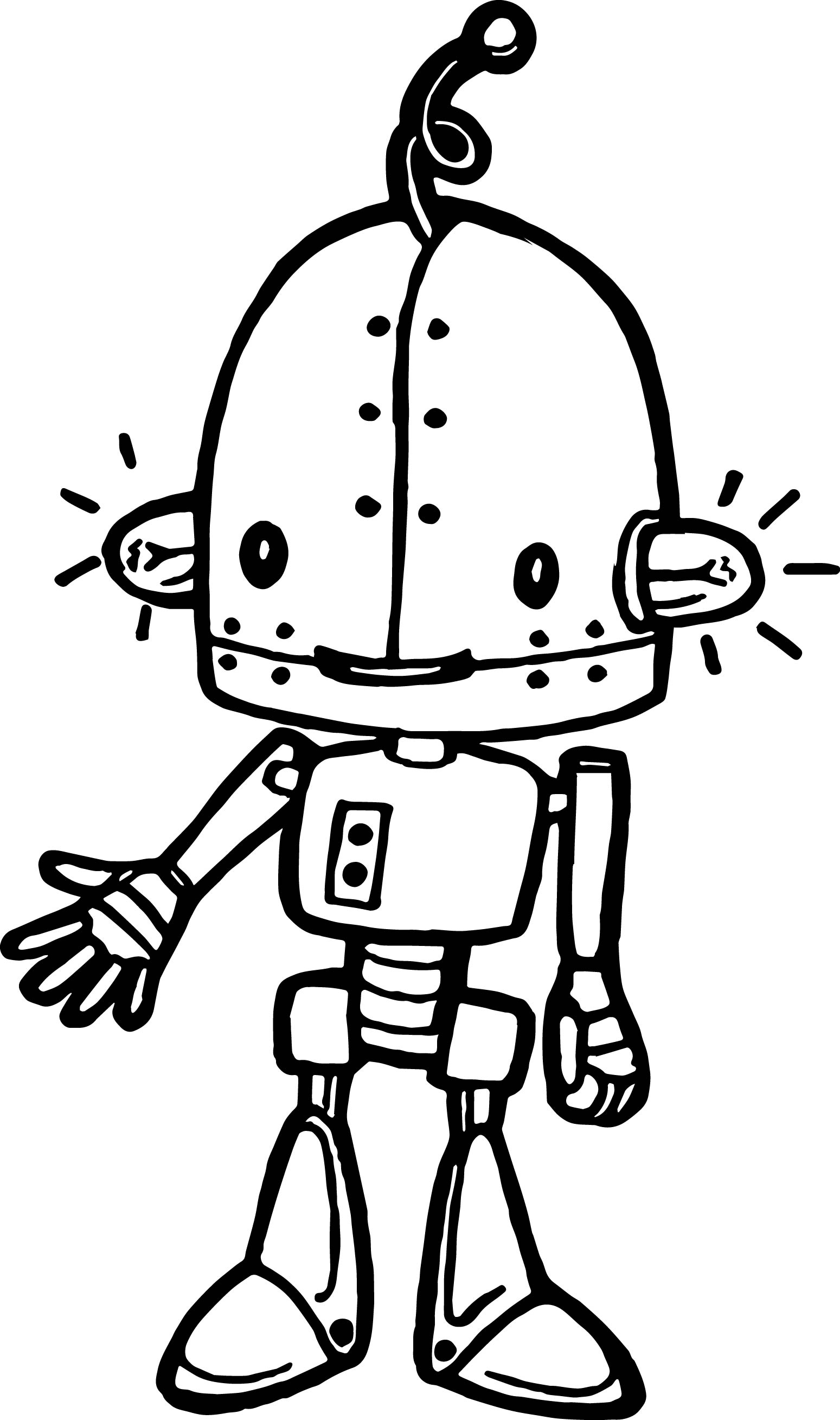 Ampule Cartoon Robot Coloring Page