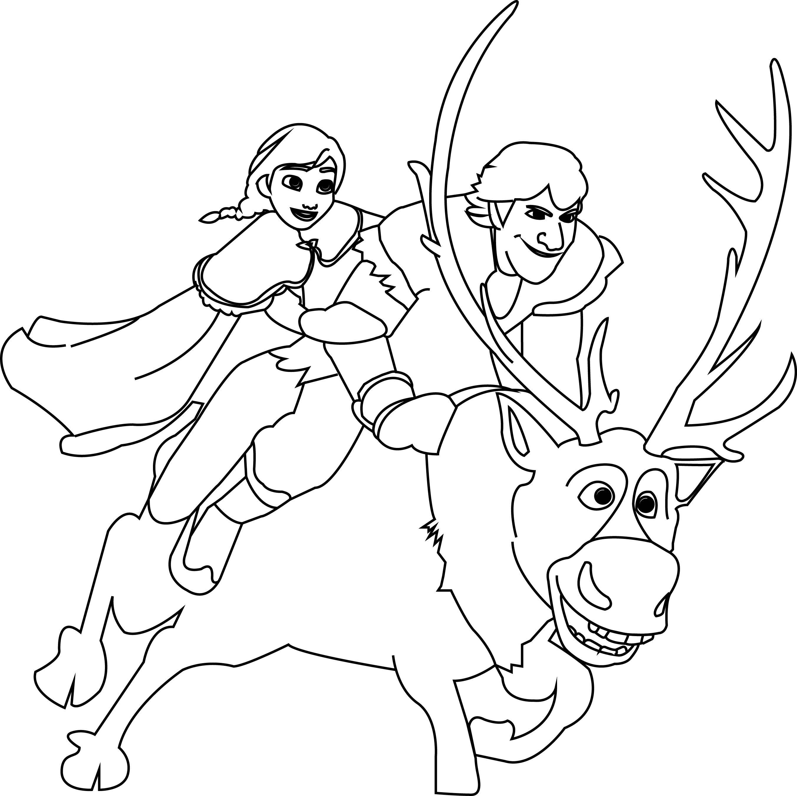 Anna kristoff and sven coloring page for Sven coloring pages