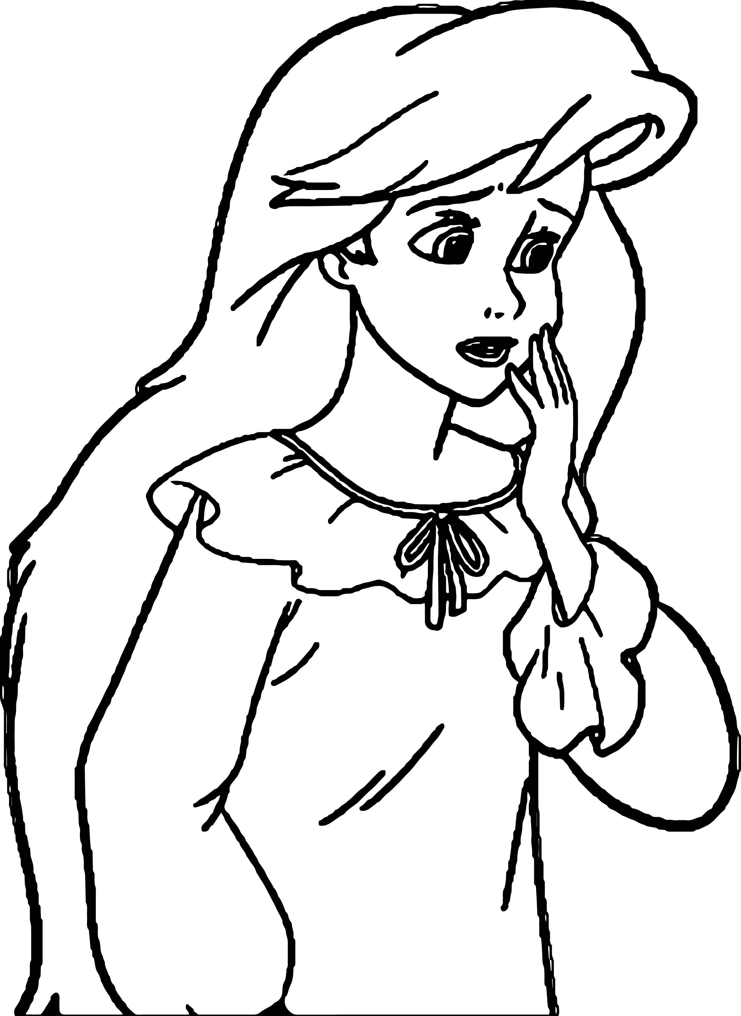 Ariel Princess Sad Coloring Page