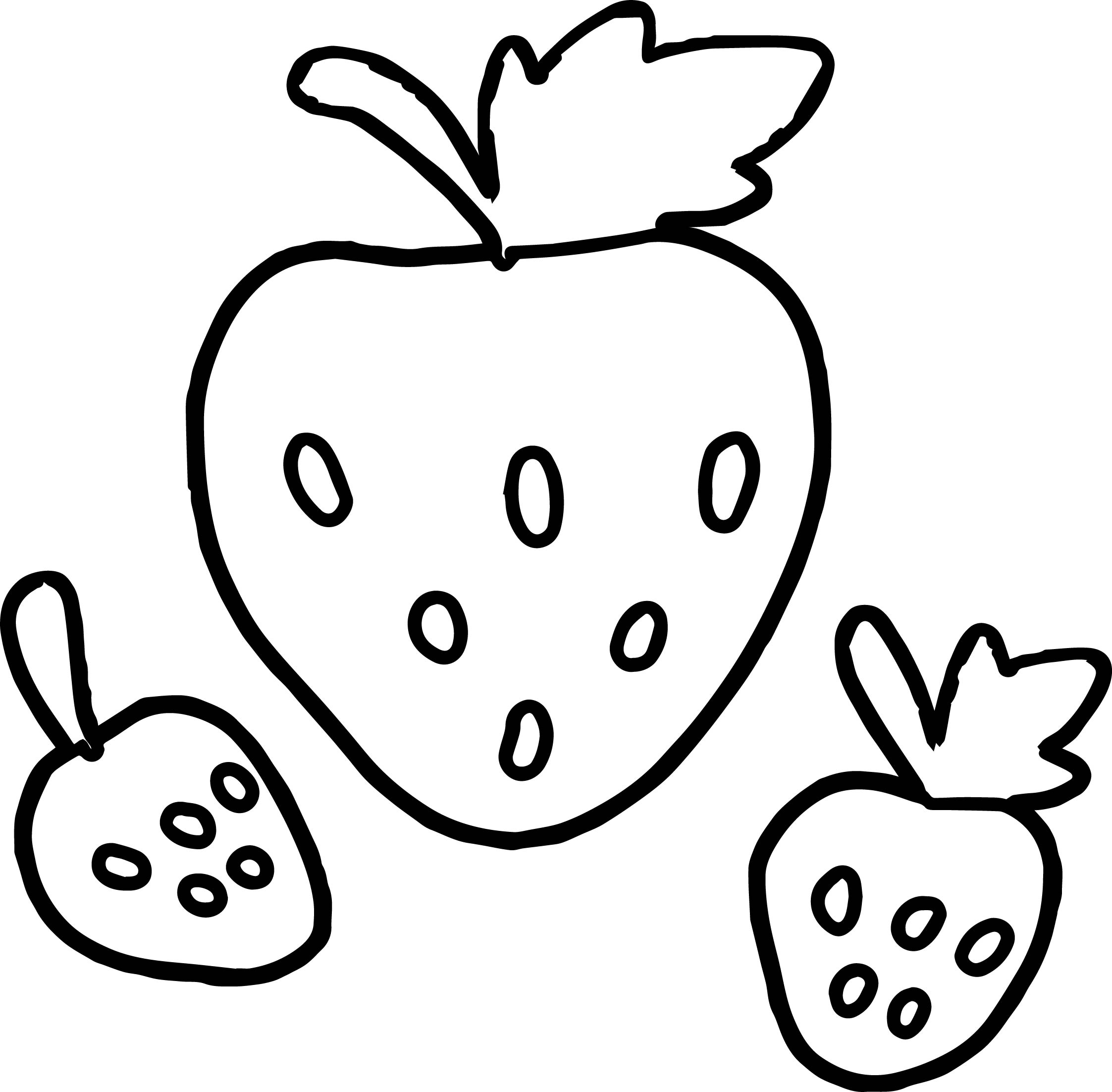 basic three strawberry coloring page