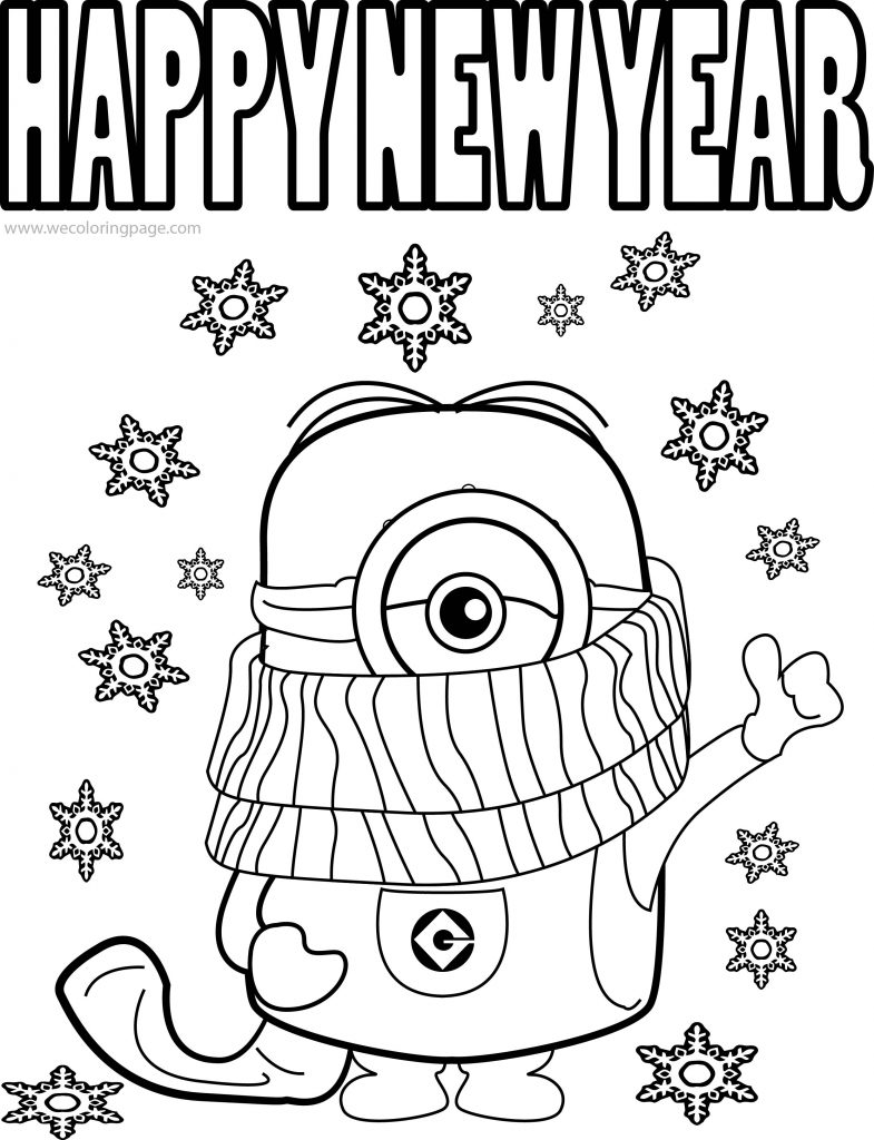 Best funny minions quotes and picture cold weather happy new year coloring page wecoloringpage - New years colors 2019 ...
