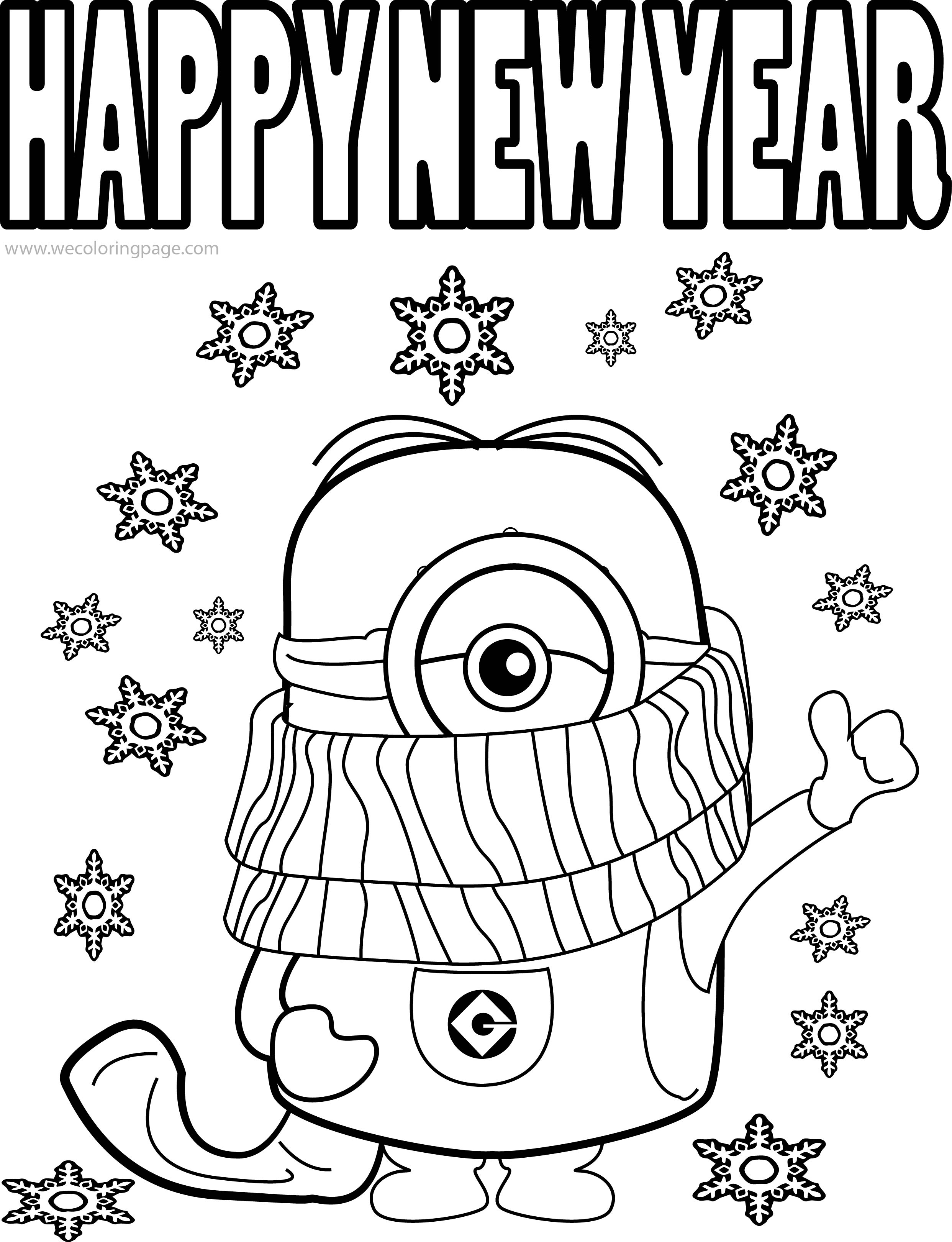Happy New Year Coloring Pages Best Funny Minions Quotes And Picture Cold Weather Happy New Year