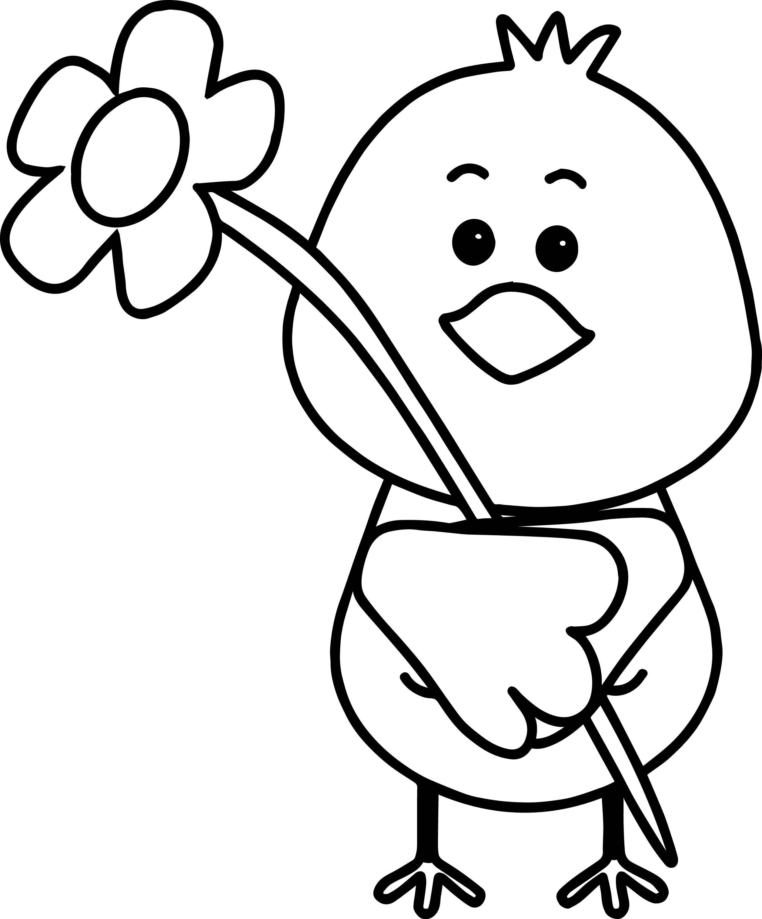 Bird Flower Spring Coloring Page