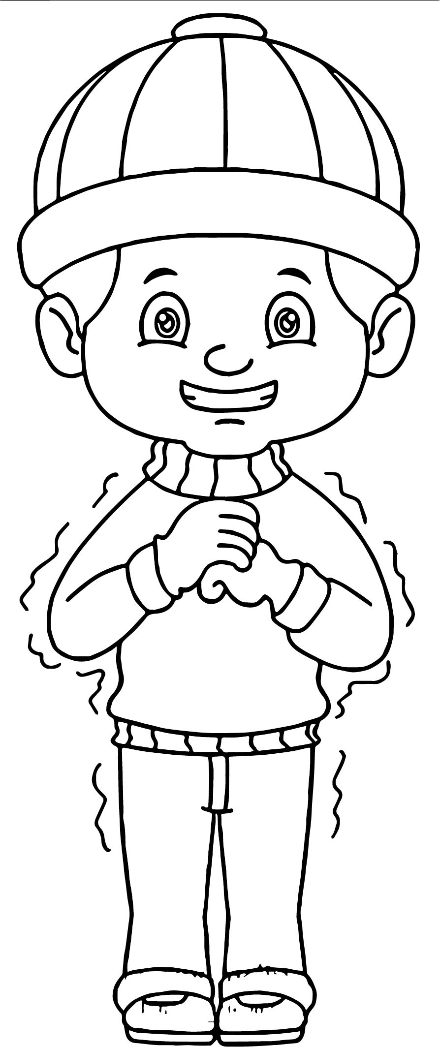 boy wearing hat gloves shivering winter coloring page wecoloringpage