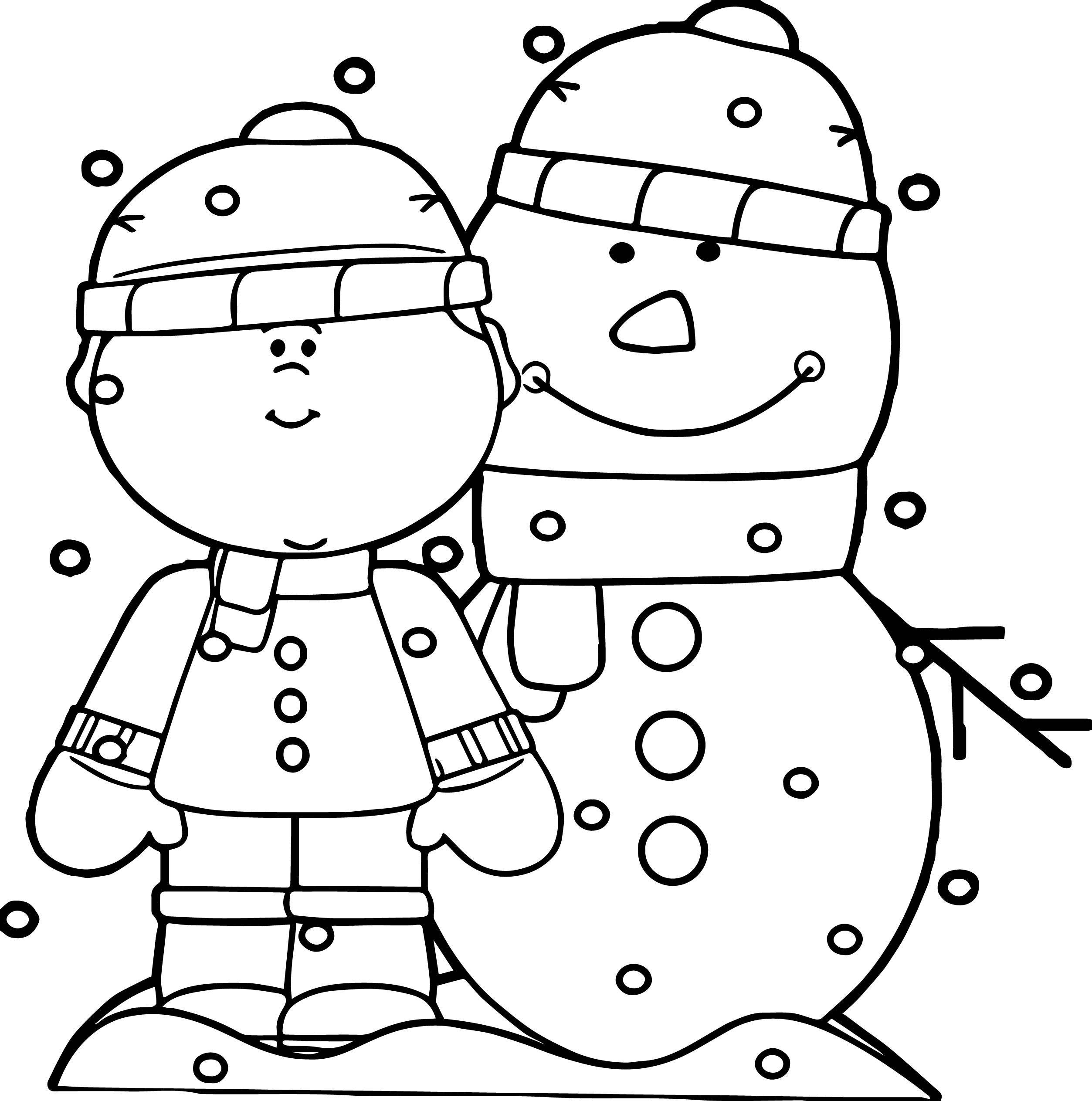 boy with snowman in the snow coloring page wecoloringpage