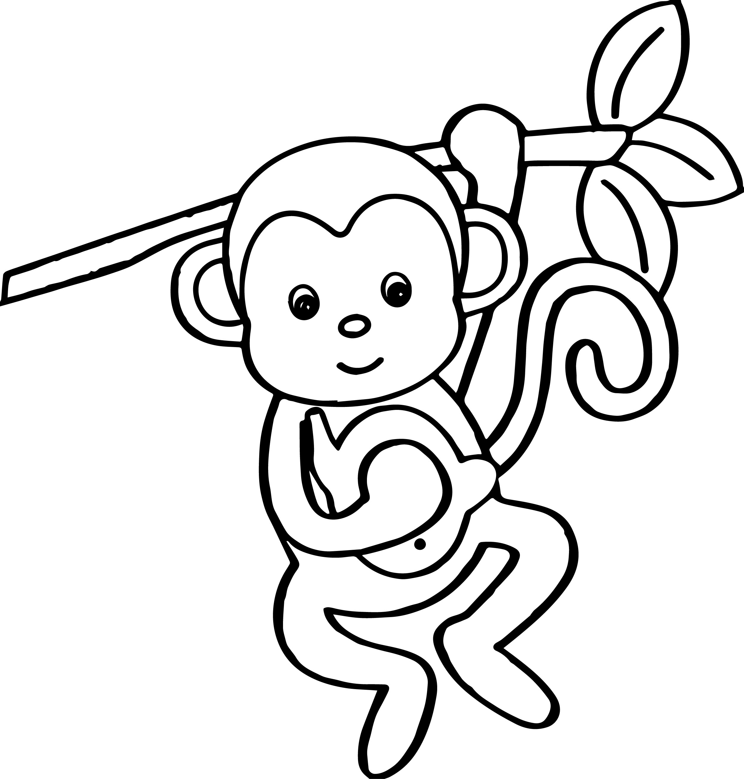 cartoon animals kids monkey coloring page - Coloring Pages Cartoon Animals