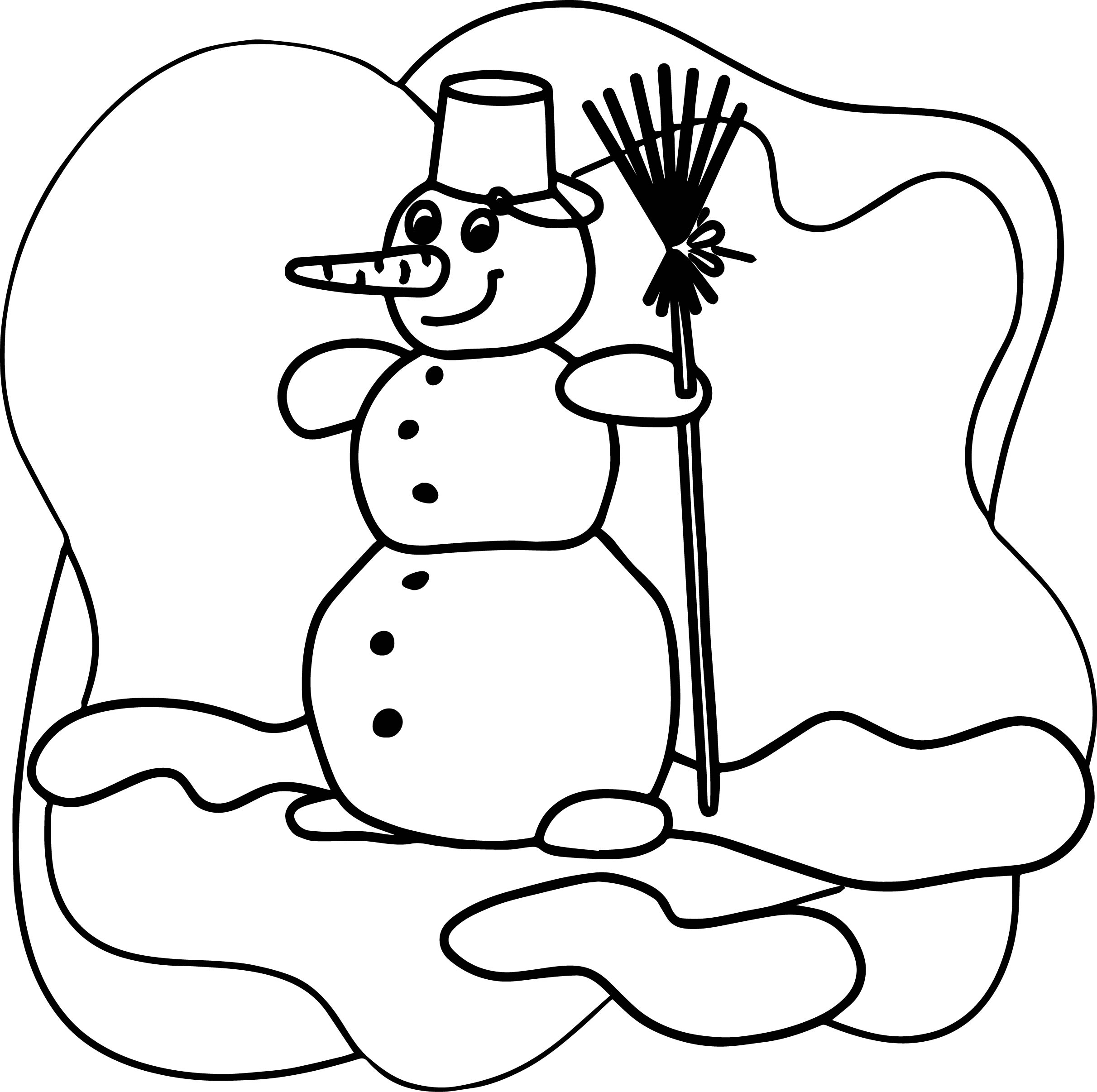 Cartoon Snowman Winter Clip Art Gratis Coloring Page