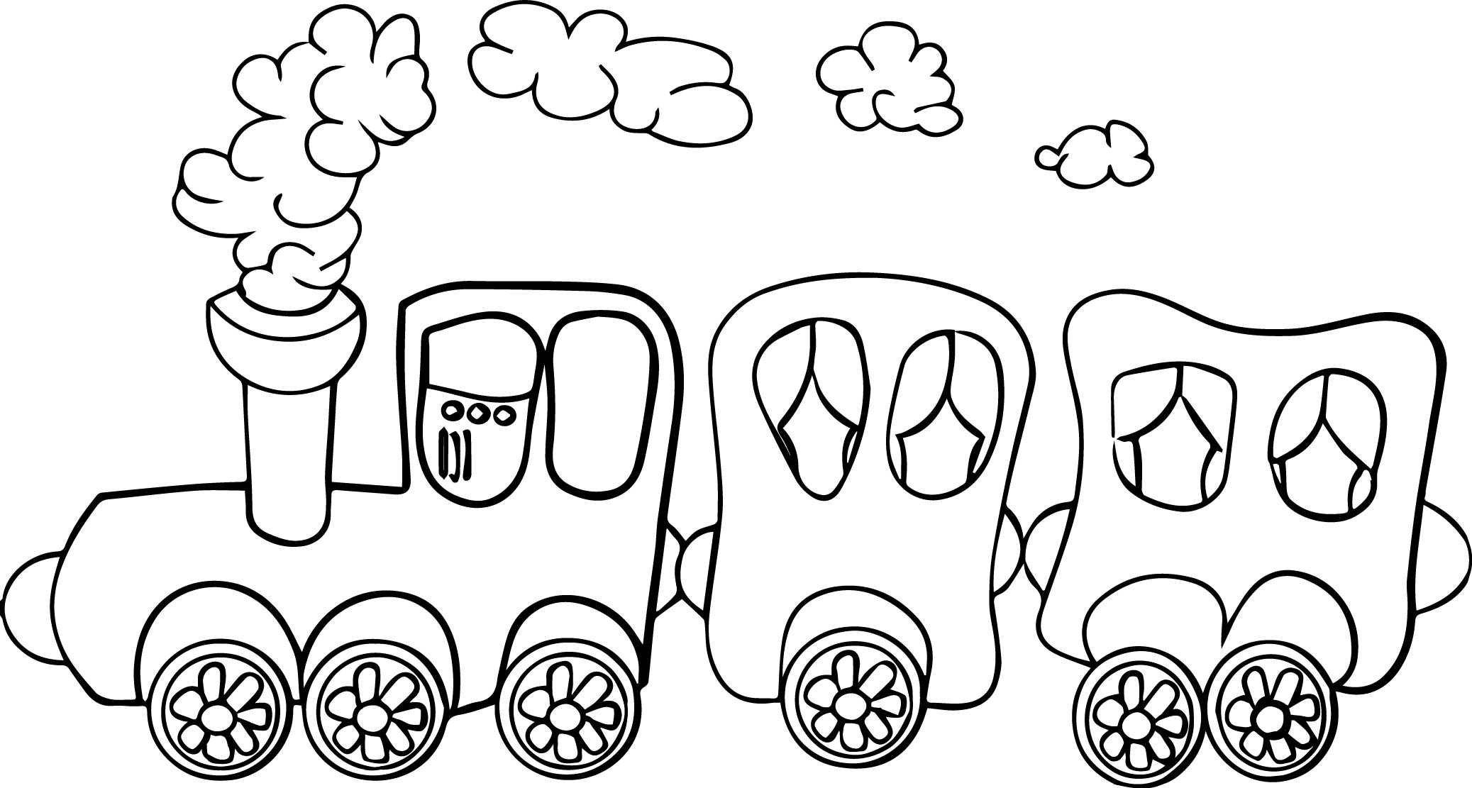 cartoon train coloring page - Train Coloring Pages