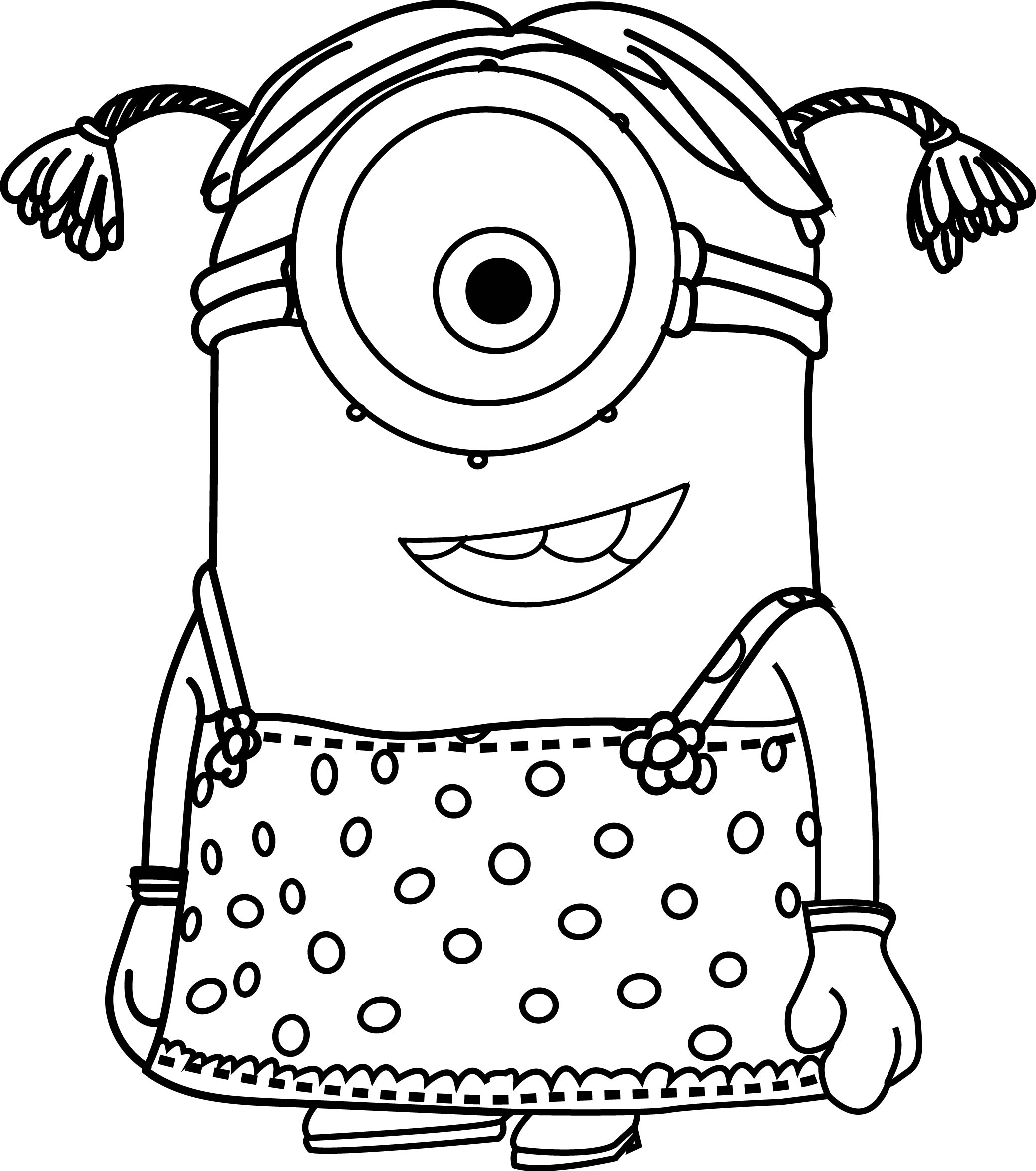 cartoons minions little girl coloring page wecoloringpage