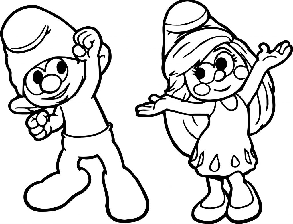 Clumsy And Smurfette Dance Coloring Page   Wecoloringpage.com