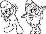 Clumsy And Smurfette Dance Coloring Page