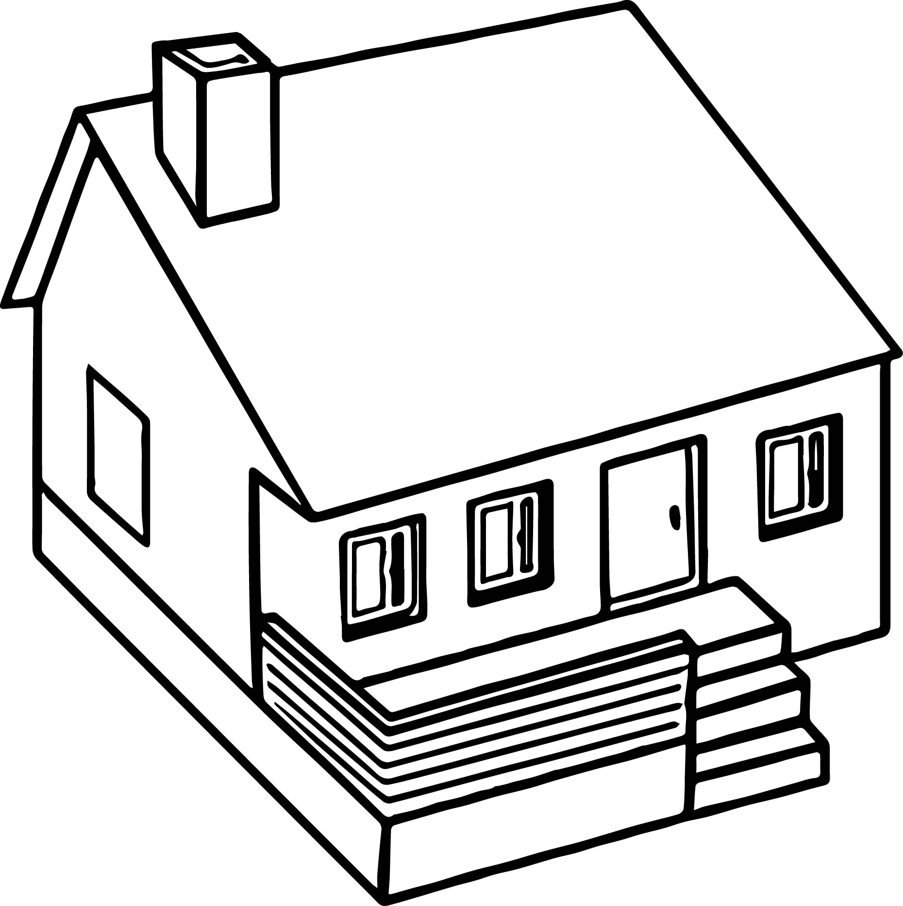 3d coloring pages - Cute 3d Home Coloring Page