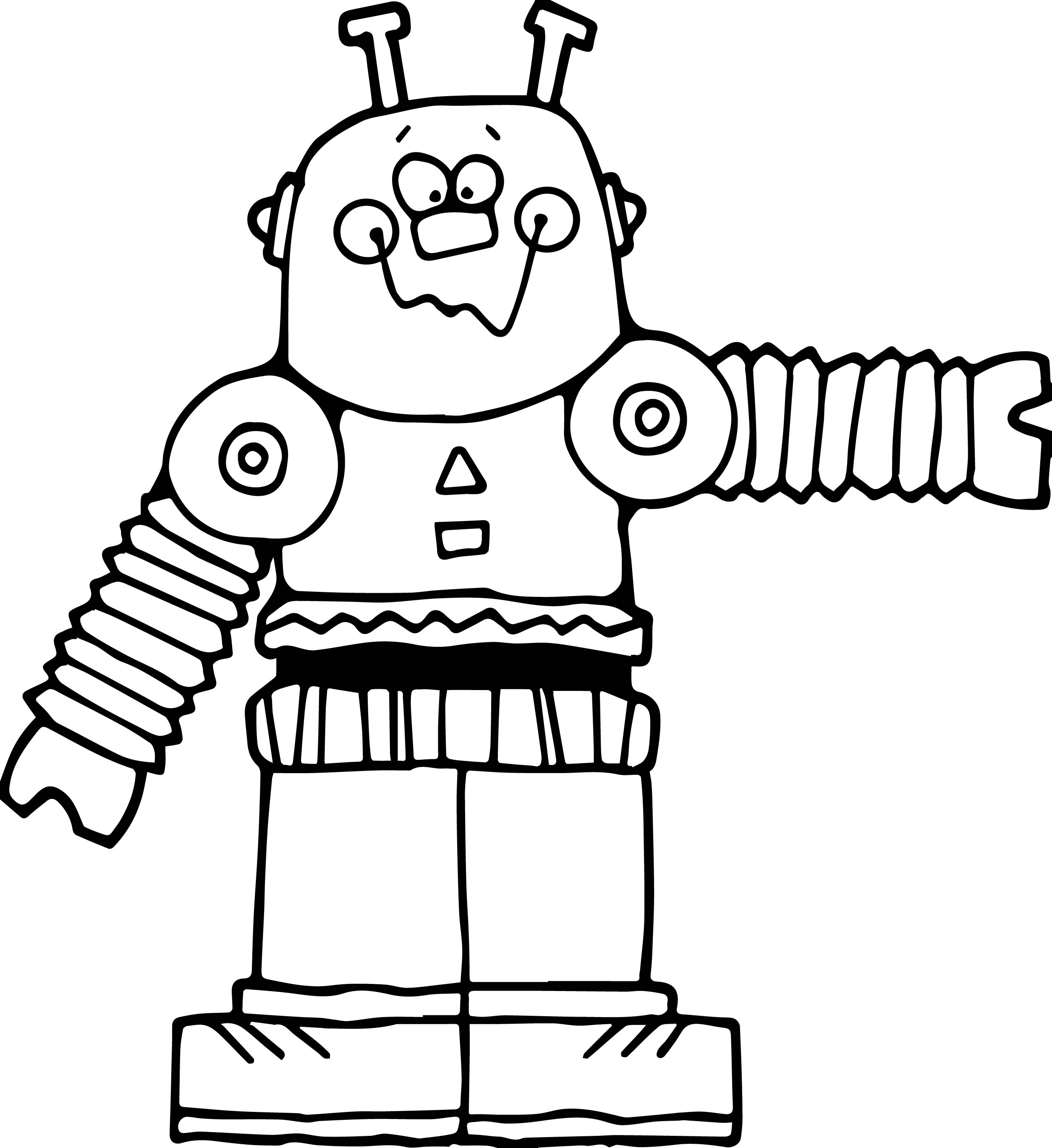 Cute Big Robot Coloring Page