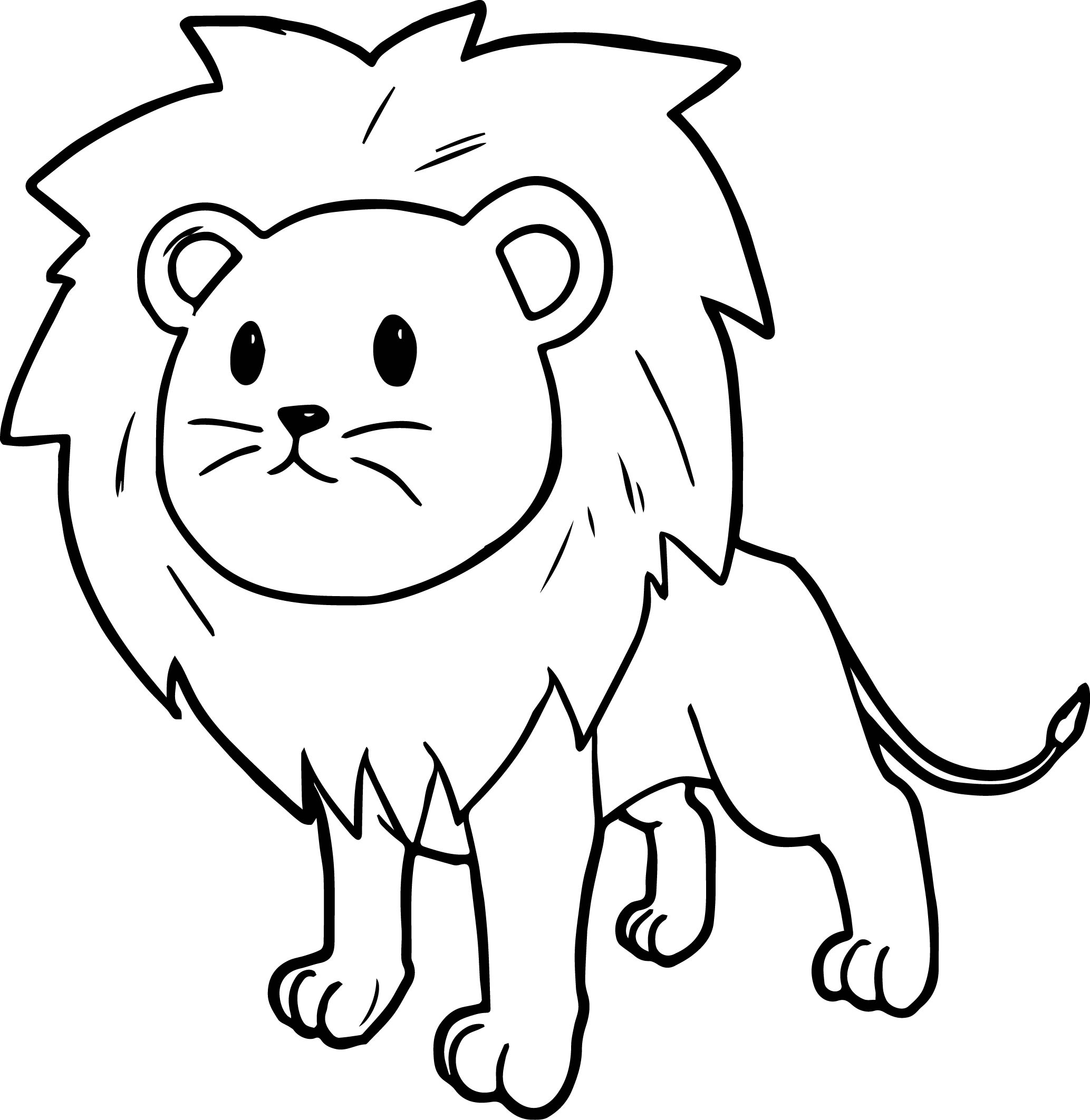 lion coloring pages - cute cartoon comic lion coloring page