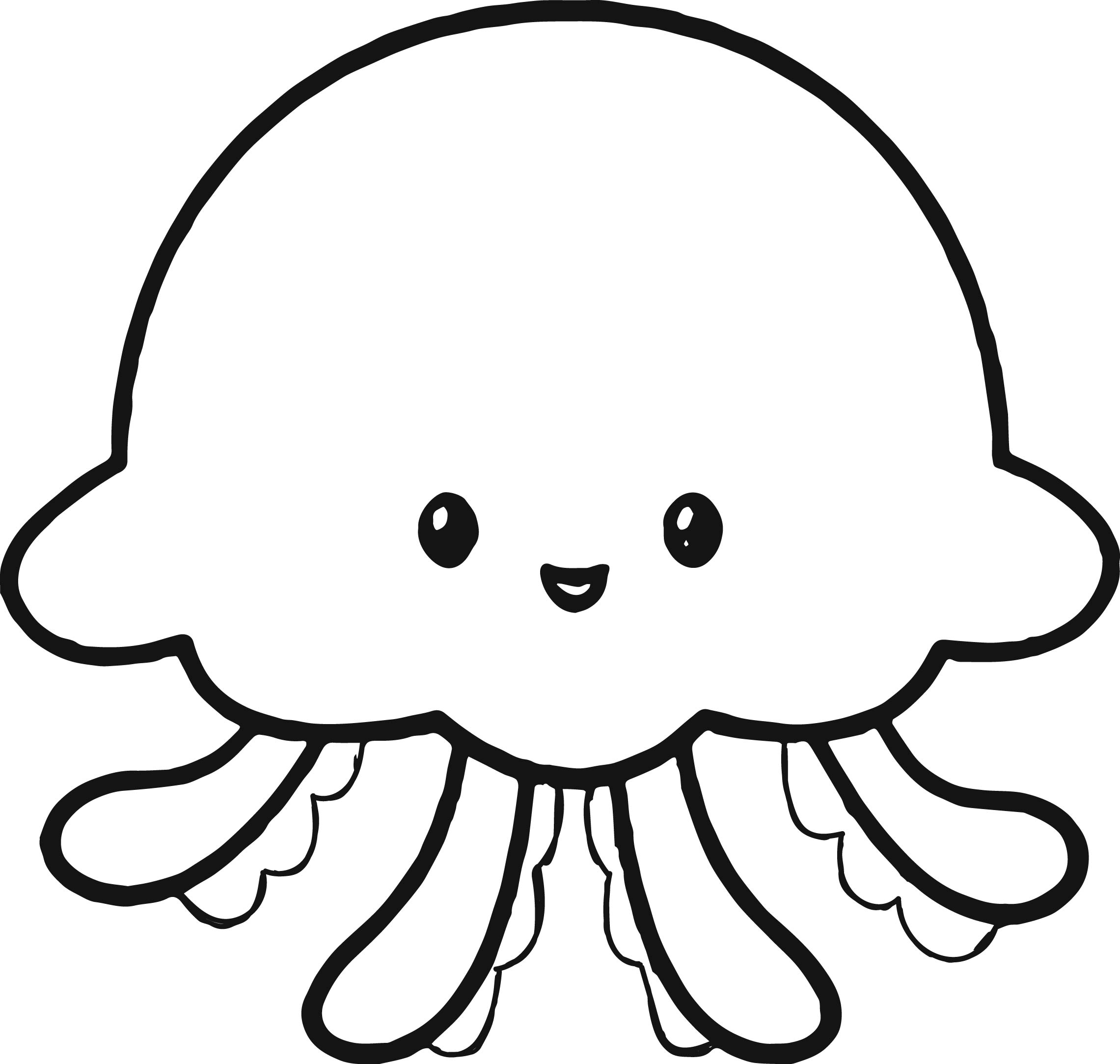 cute jellyfish coloring page - Jellyfish Coloring Pages