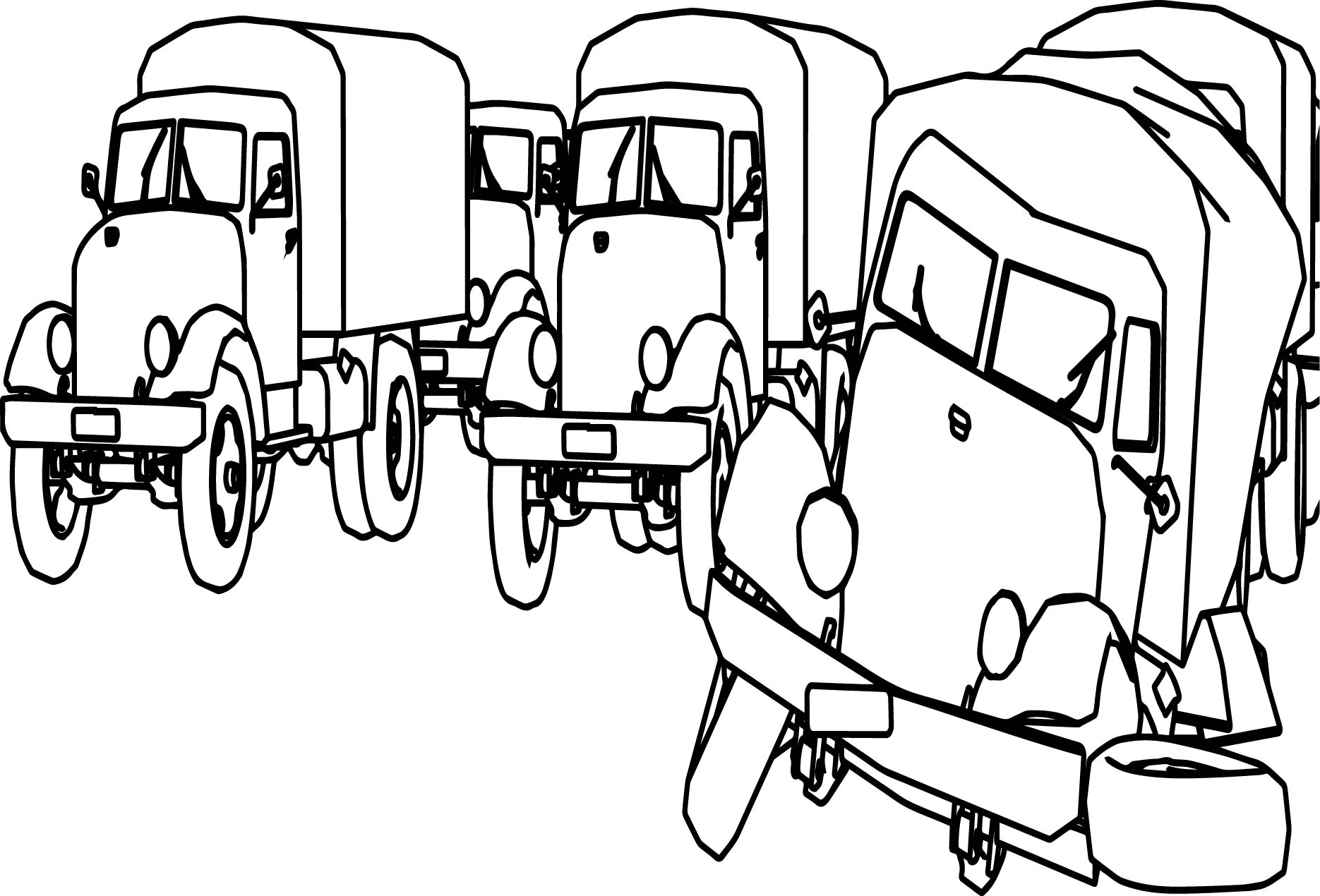 Damages Cartoon Truck Coloring Page