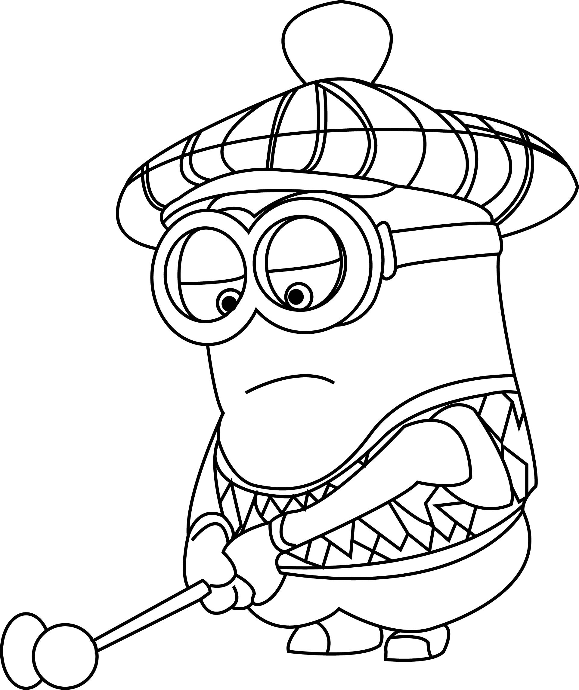 despicable me golfer minions coloring page - Minion Coloring Pages