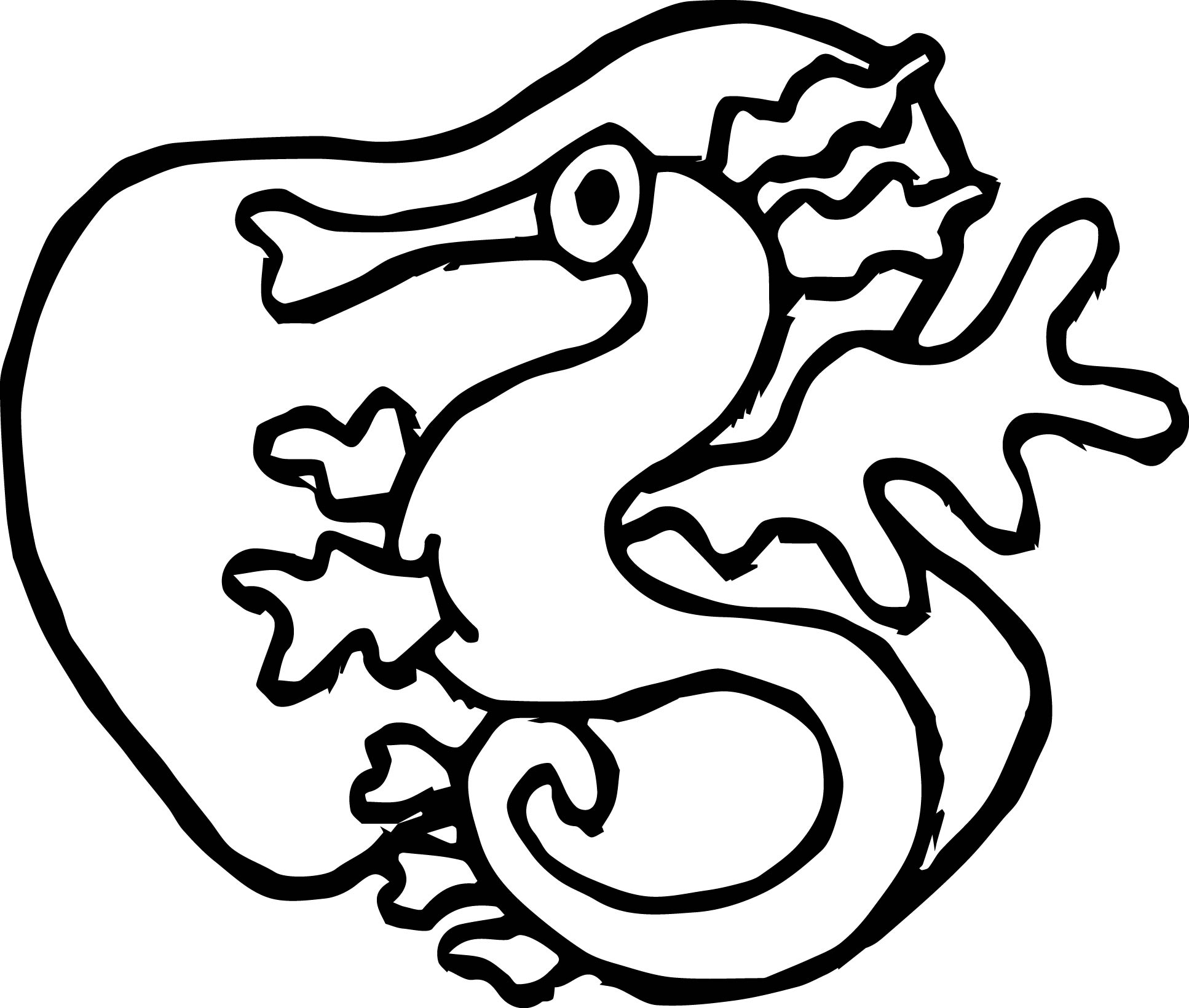 Dragon Silhouette Coloring Page