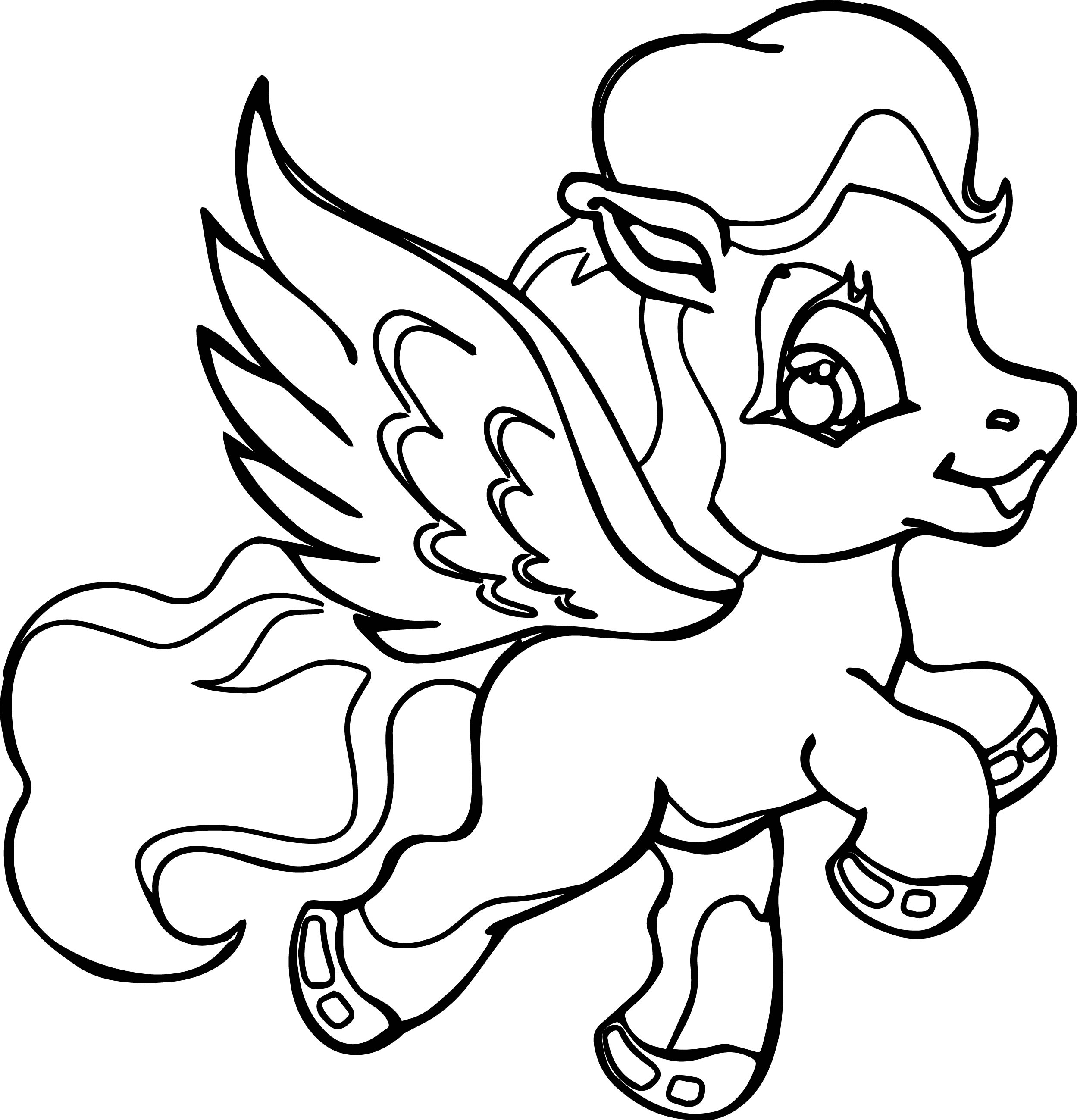 Flying Little Pony Coloring Page on Cartoon Apple