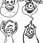Free Cartoon Fruit And Vegetables Coloring Page